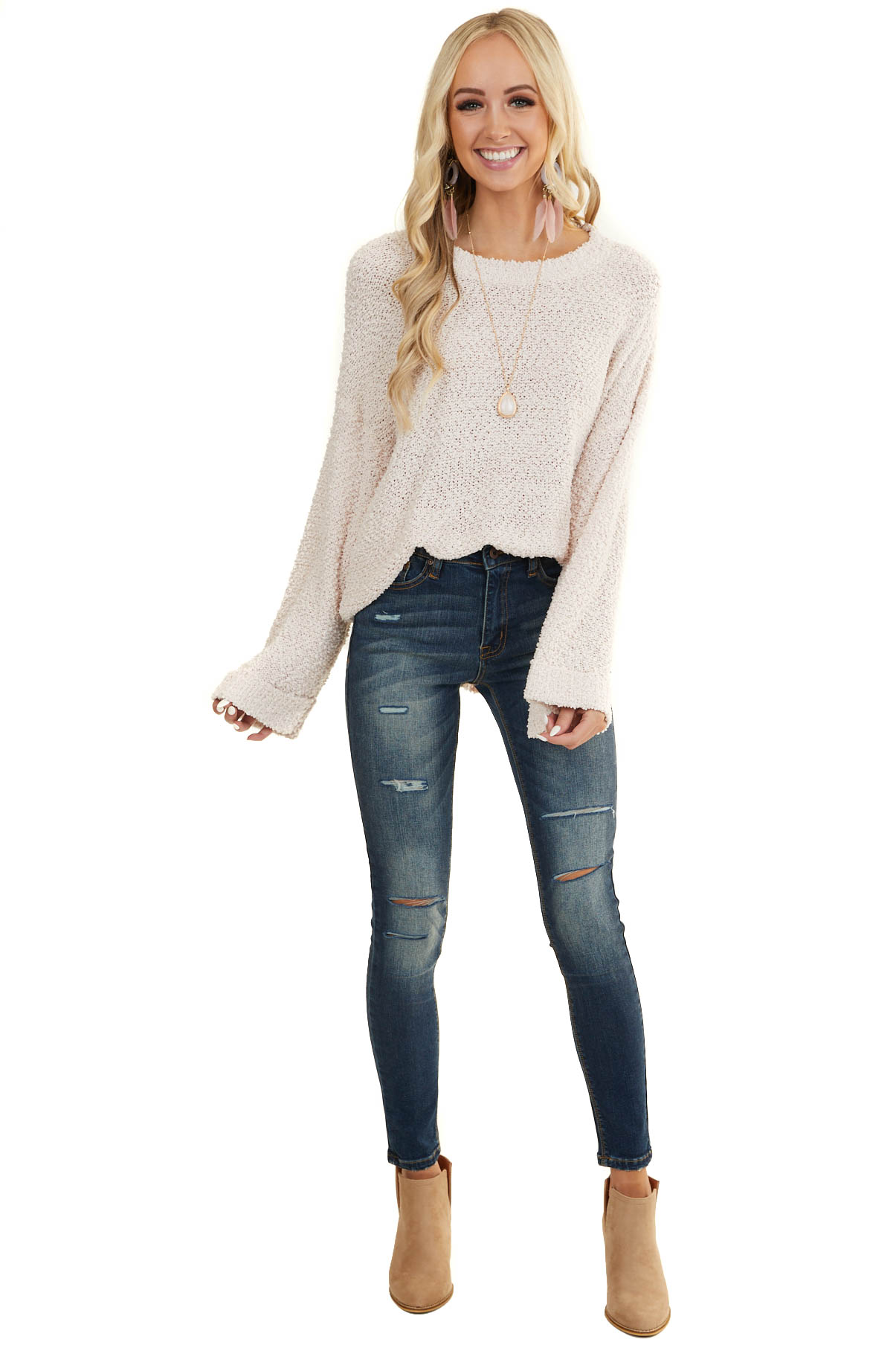 Light Blush Popcorn Textured Knit Sweater with Bell Sleeves