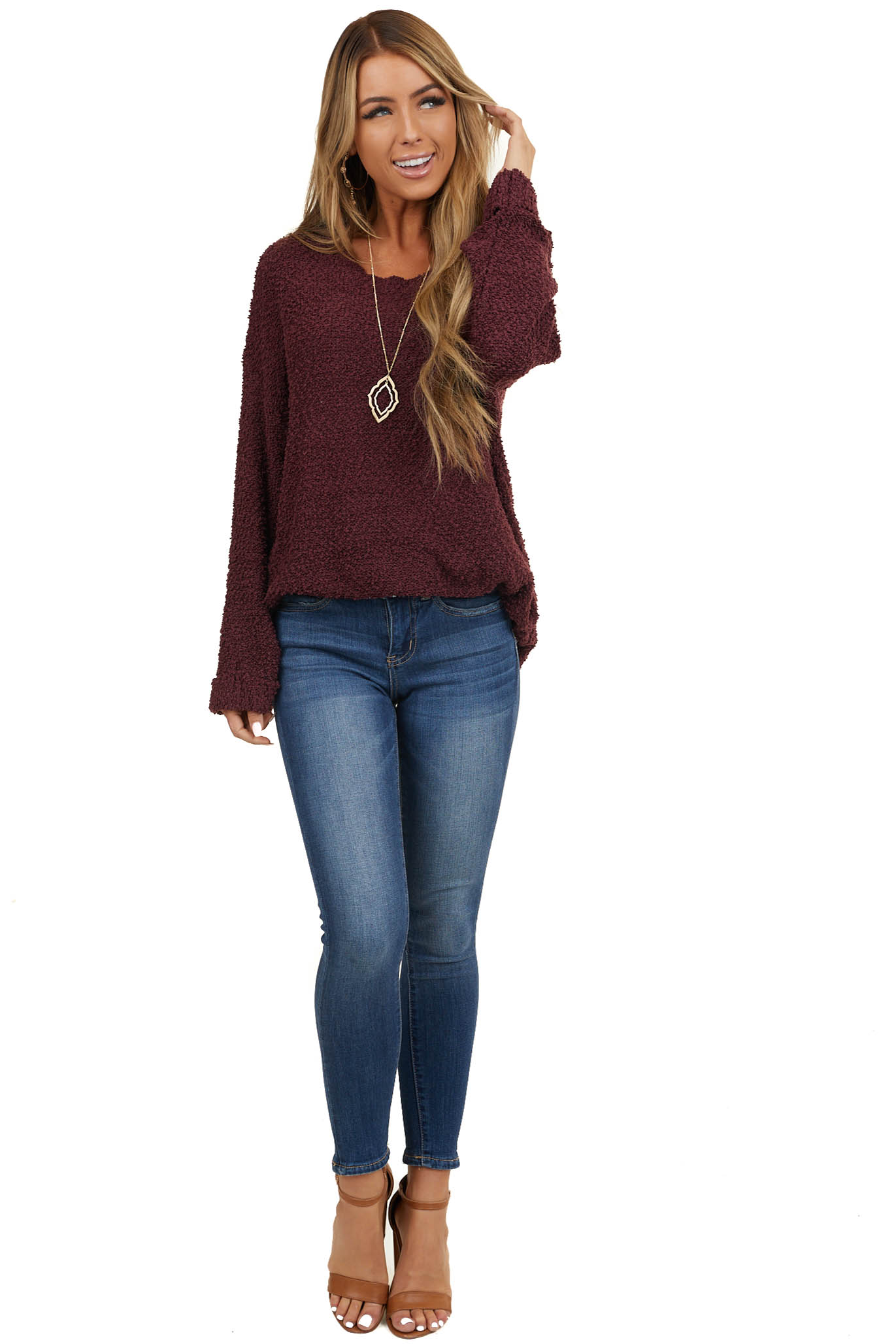 Plum Popcorn Textured Knit Sweater with Bell Sleeves