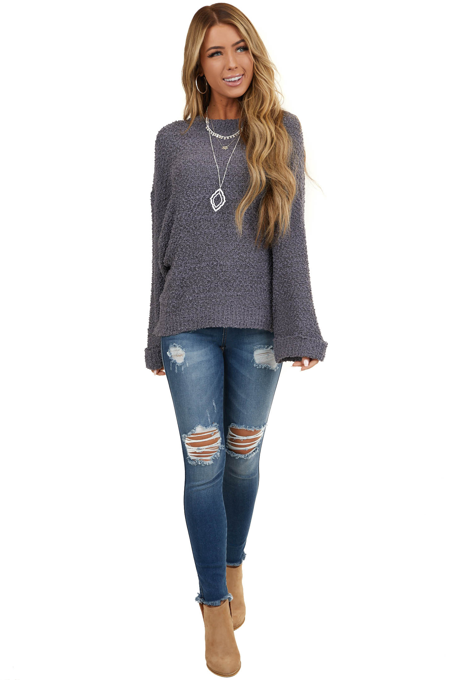 Stormy Grey Popcorn Textured Knit Sweater with Bell Sleeves