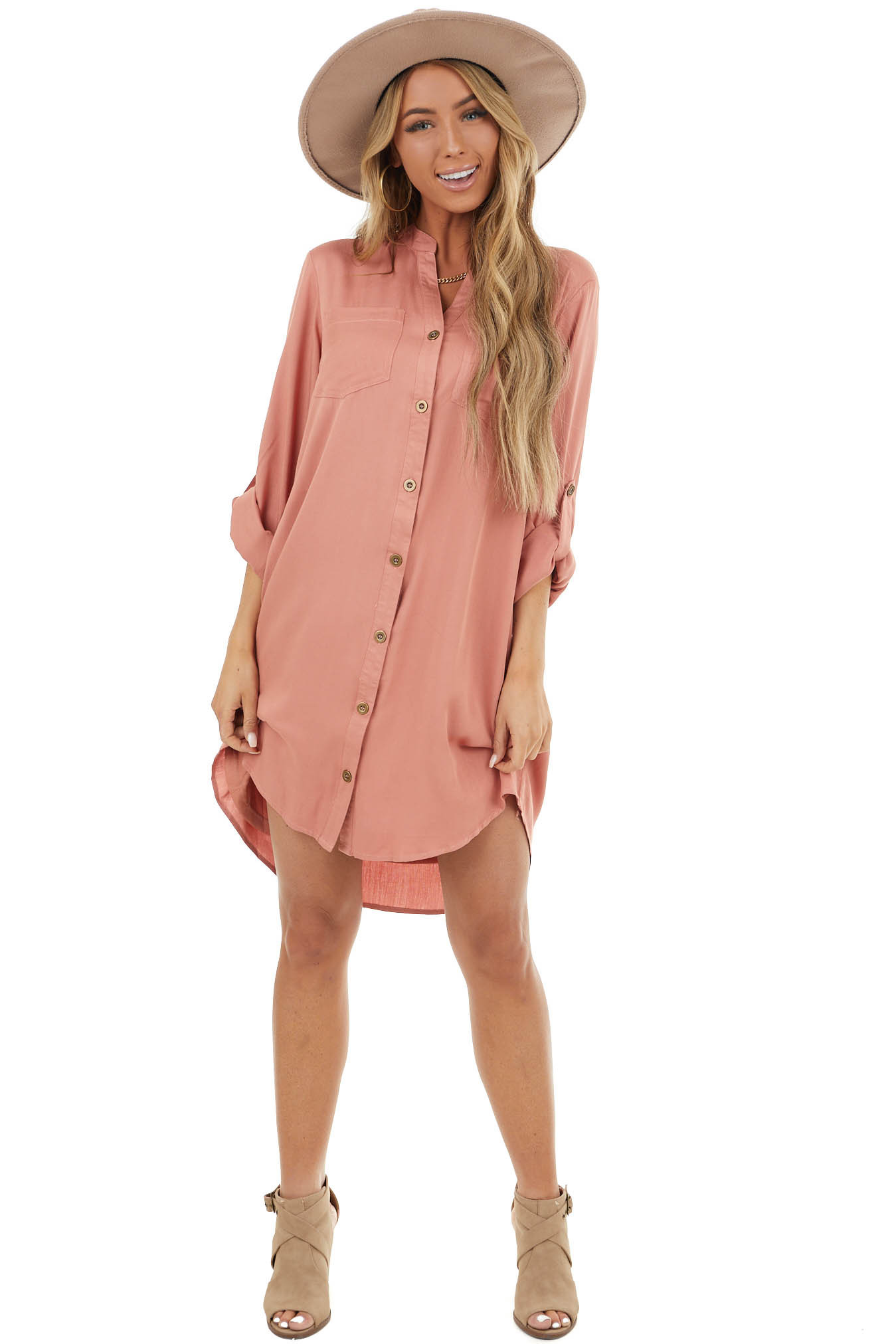 Terracotta Button Down Collared Short Dress with Pockets