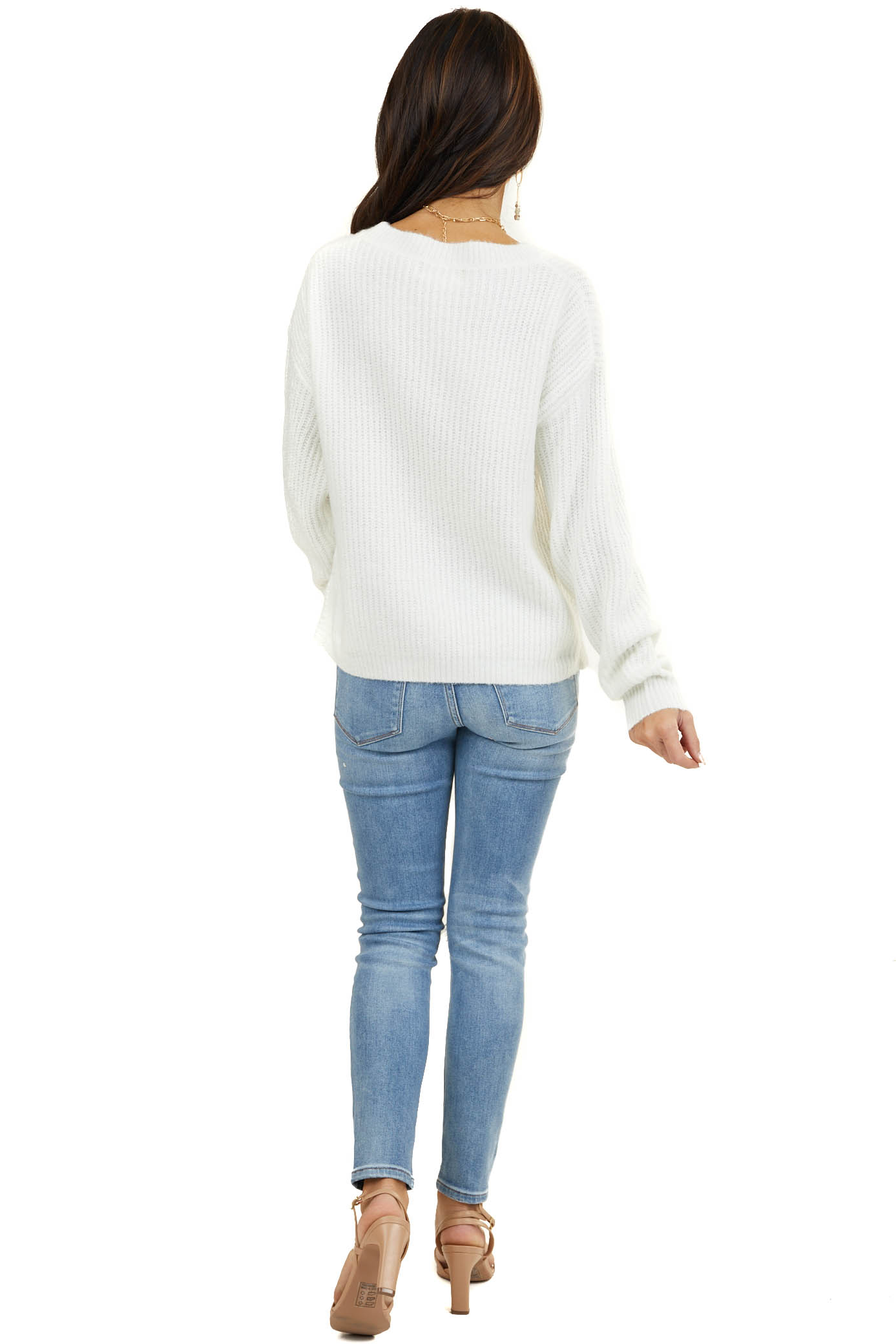 Ivory Super Soft Ribbed Knit Sweater with Front Knot Detail