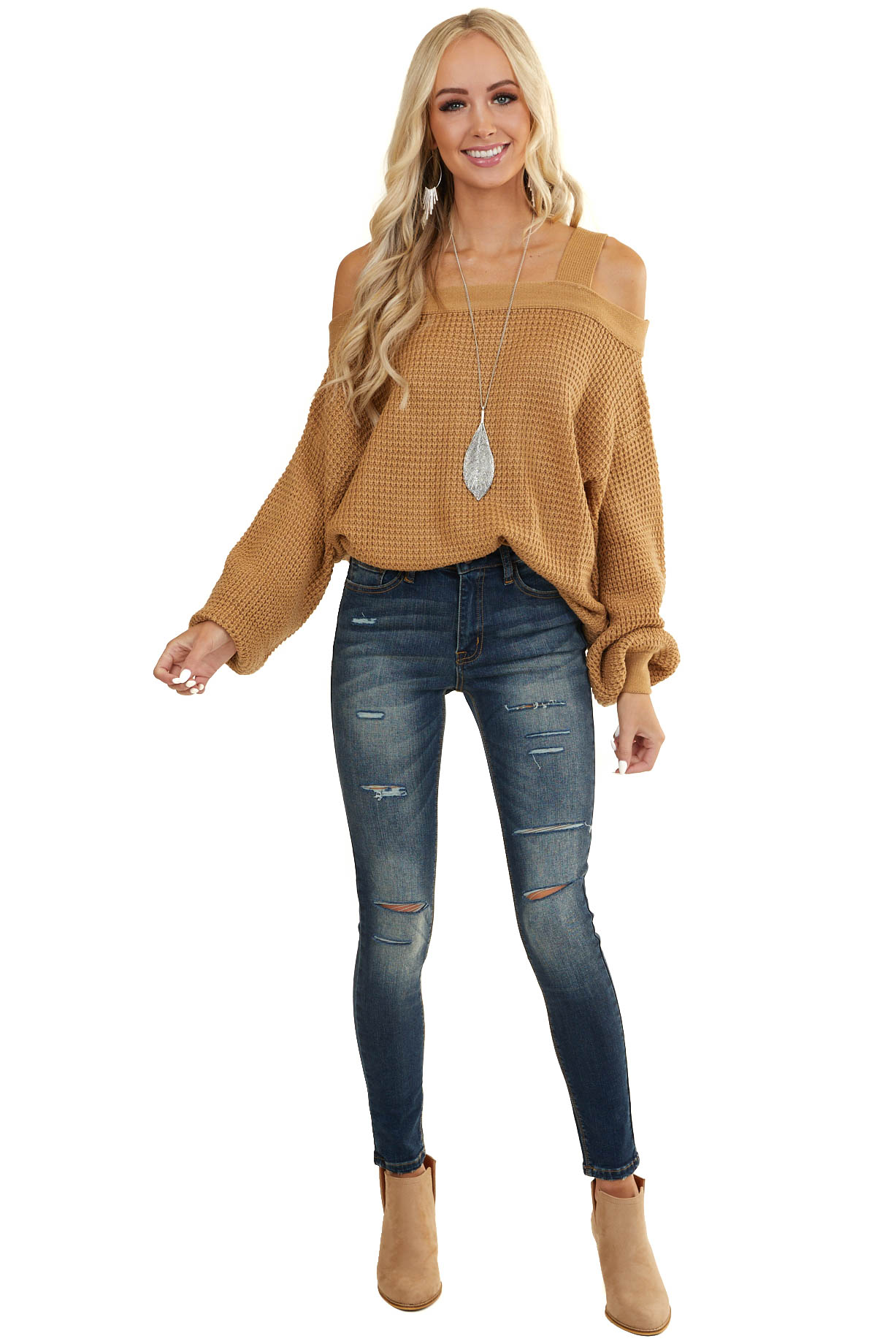 Camel Cold Shoulder Cable Knit Sweater with Bubble Sleeves