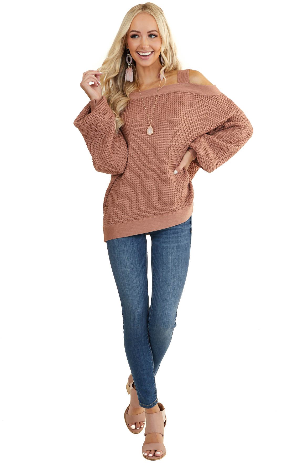 Dusty Rose Cold Shoulder Sweater with Bubble Sleeves