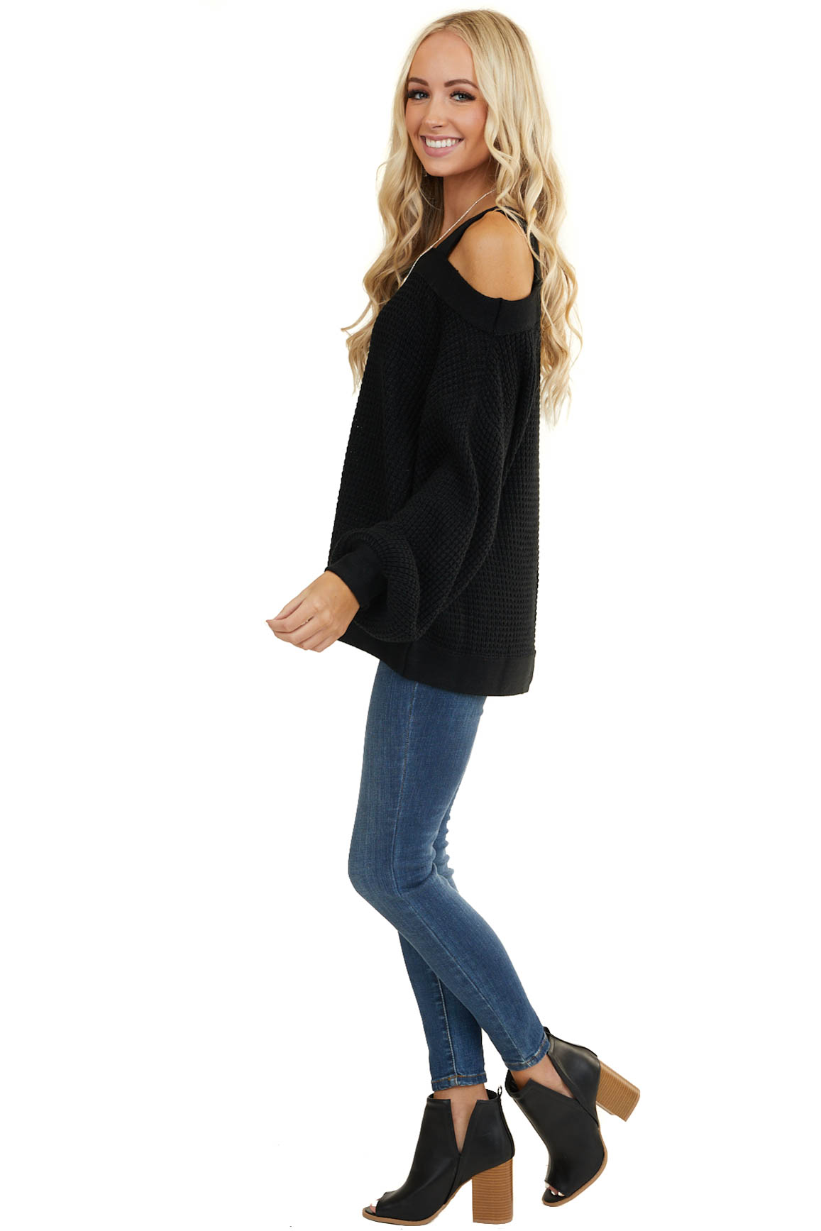 Black Cold Shoulder Cable Knit Sweater with Bubble Sleeves
