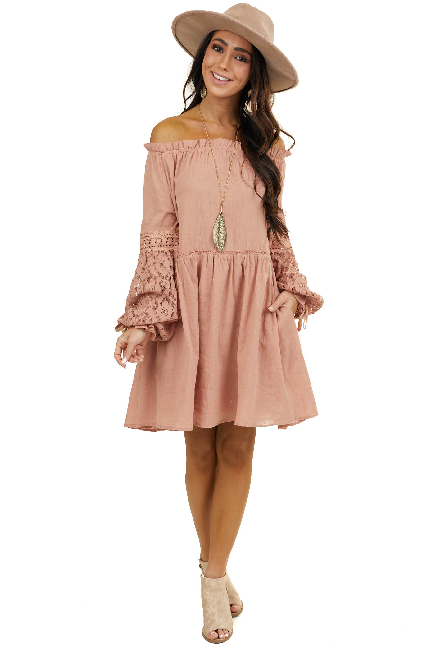 Dusty Blush Wide Neckline Short Dress with Lace Details
