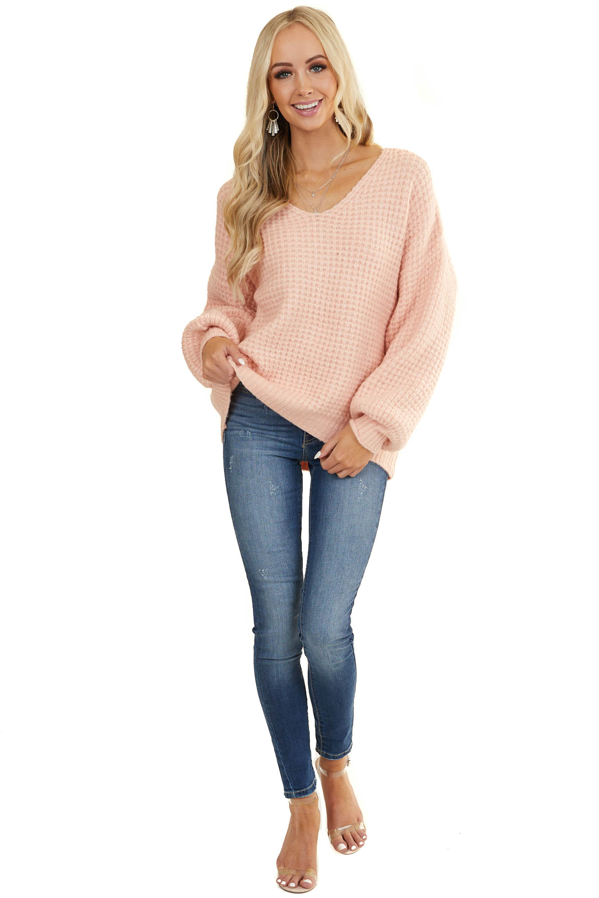 Light Coral Textured Waffle Knit Sweater with V Neckline