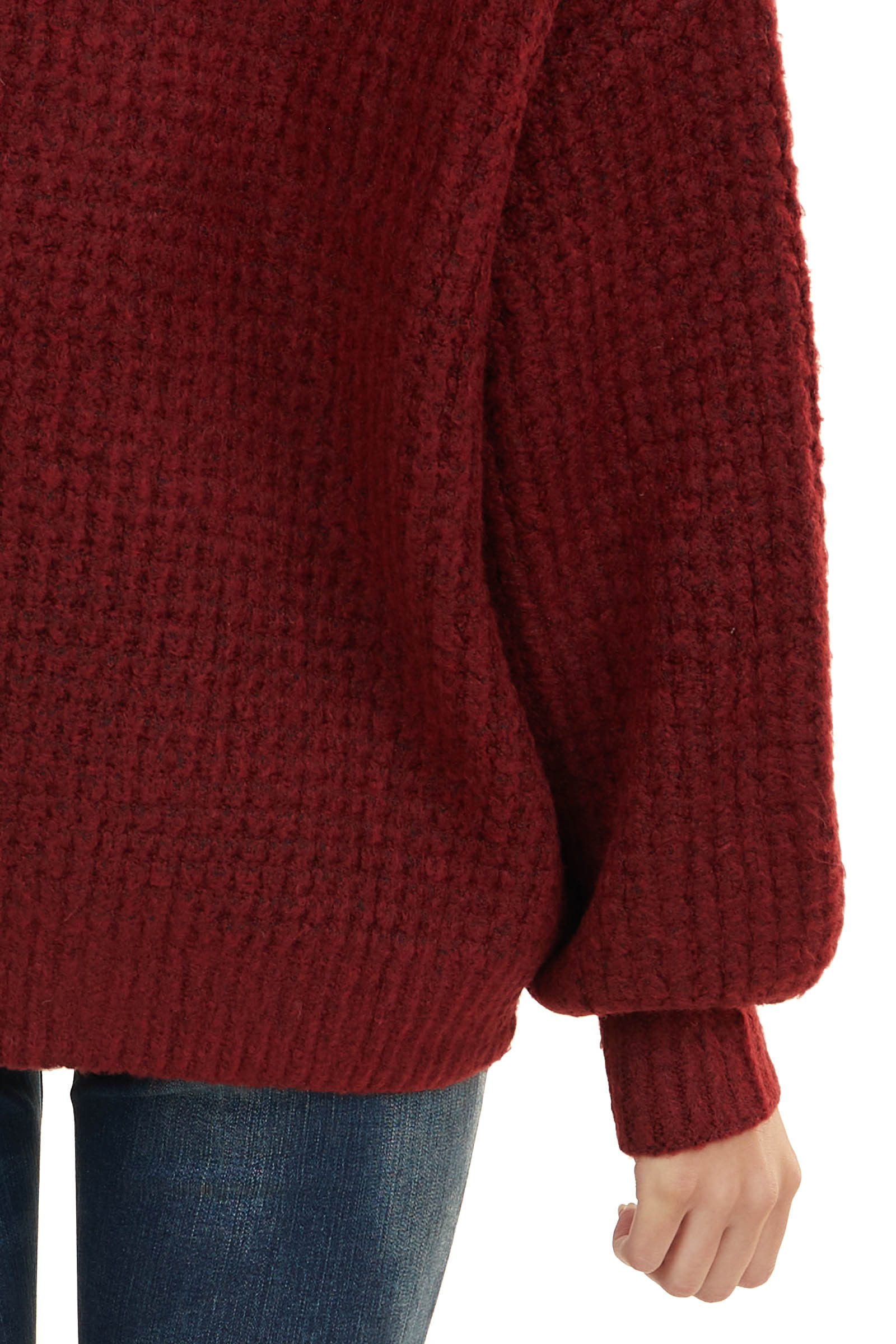 Maroon Textured Waffle Knit Sweater with V Neckline