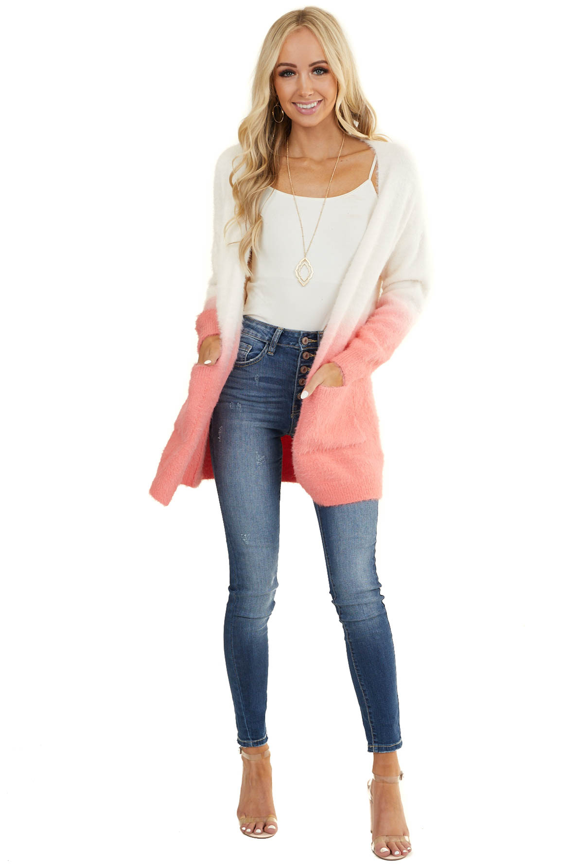 Coral and Ivory Ombre Fuzzy Knit Cardigan with Pockets