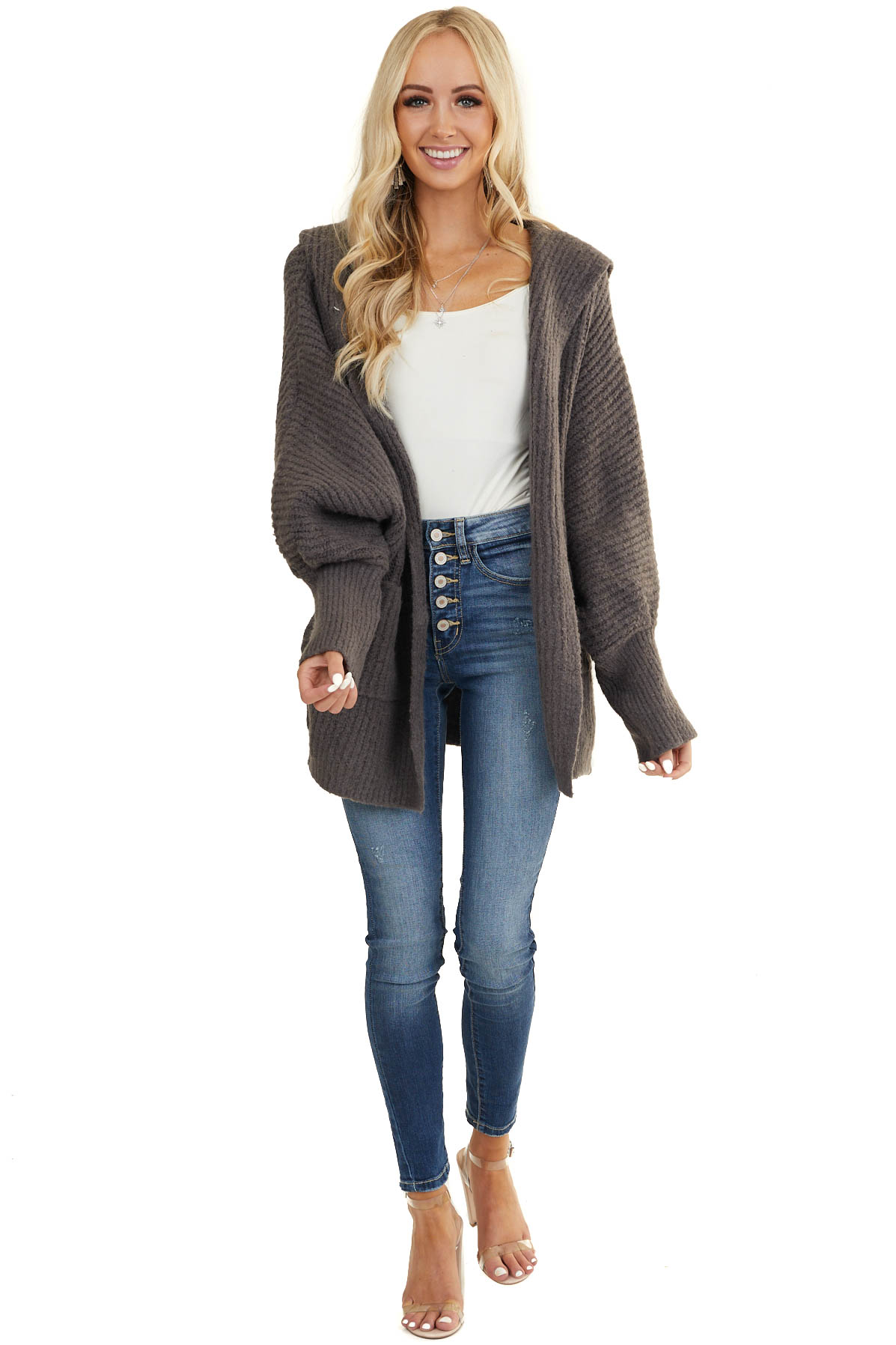 Charcoal Oversize Cardigan with Hood and Long Dolman Sleeves