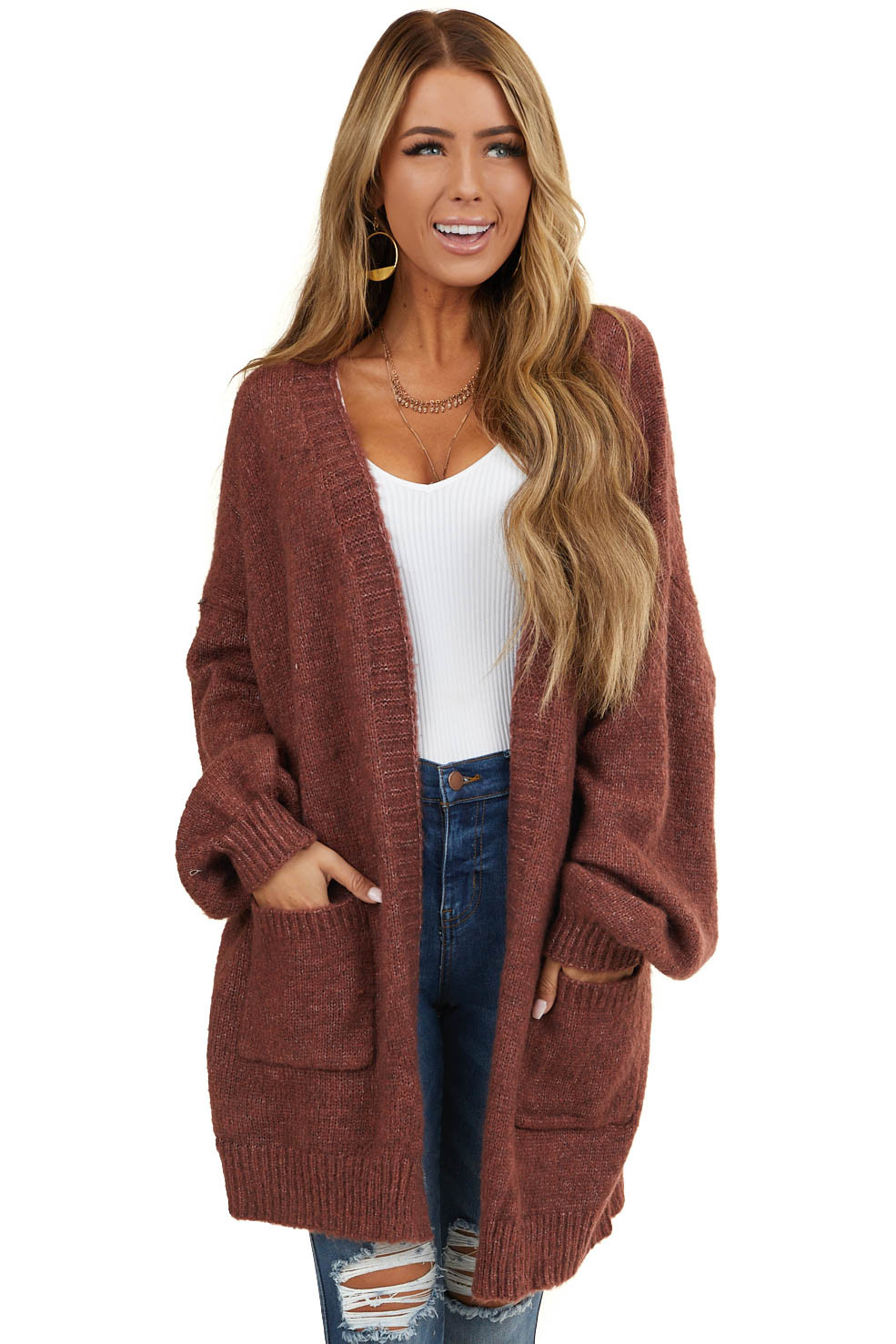 Marsala Cardigan with Bubble Sleeves and Front Pockets
