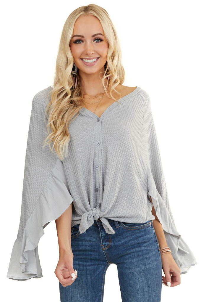Heather Grey Waffle Knit Button Up Top with Trumpet Sleeves