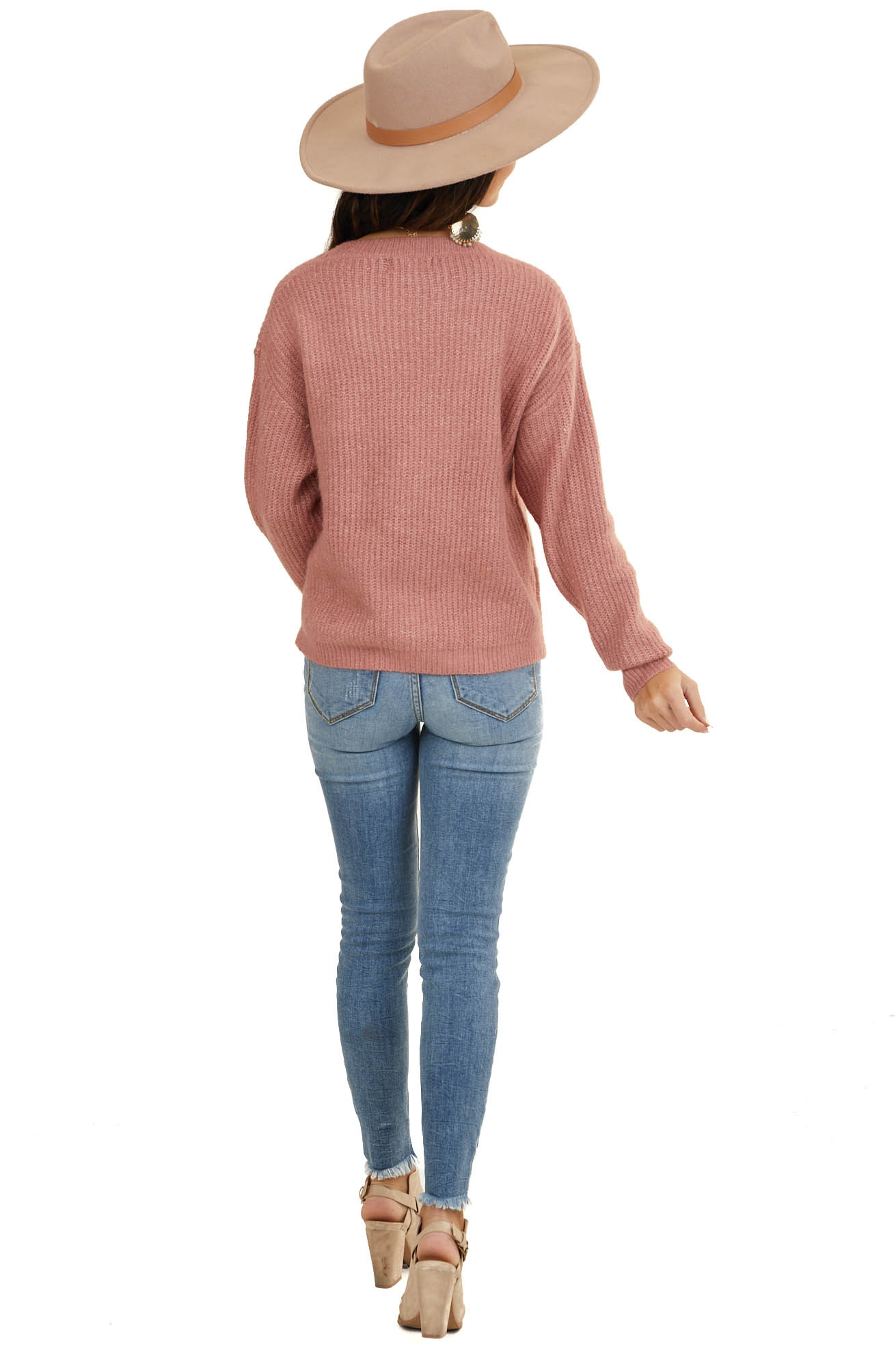 Dusty Coral Soft Ribbed Knit Sweater with Front Knot Detail
