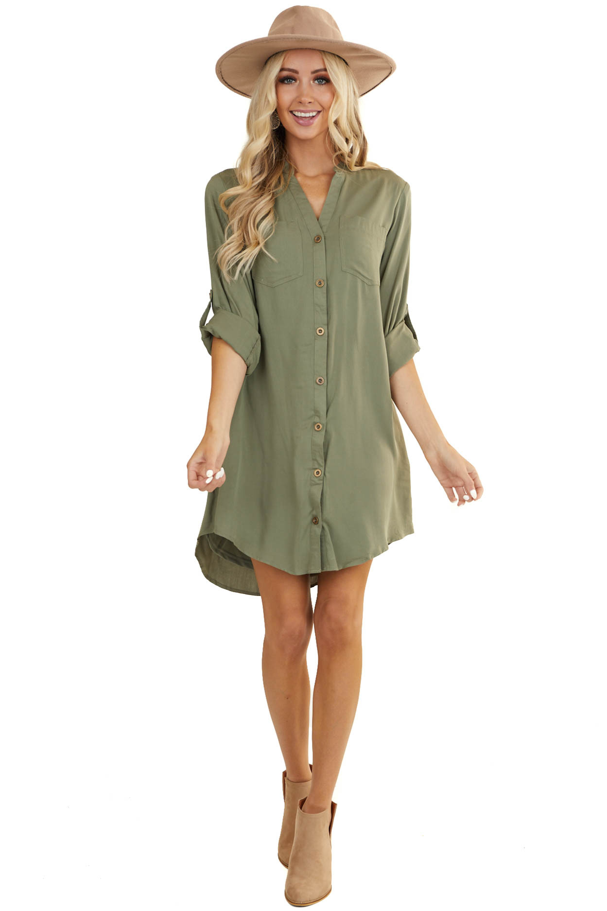 Olive Button Down Collared Short Dress with Pockets