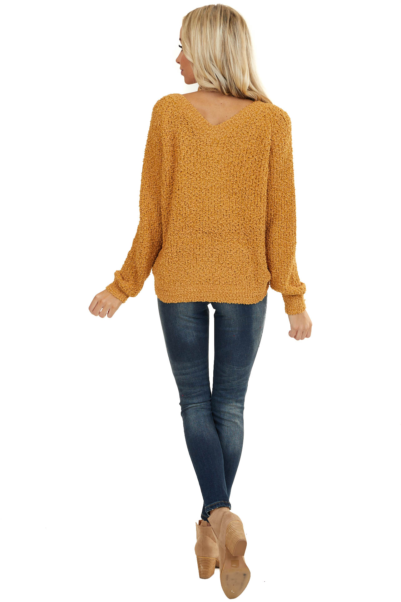 Mustard V Neck Sweater with Front Drawstring Tie Detail