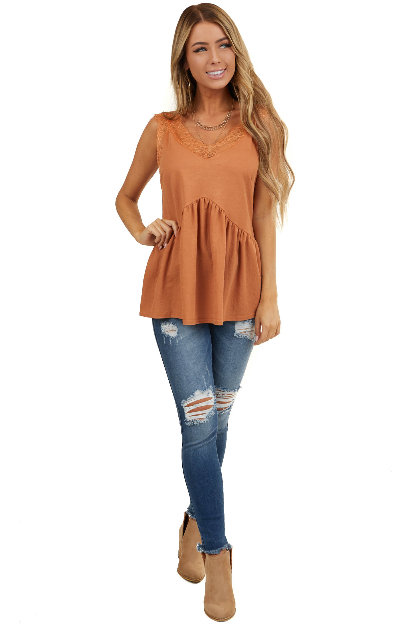 Terracotta Sleeveless V Neck Top with Eyelash Lace Detail