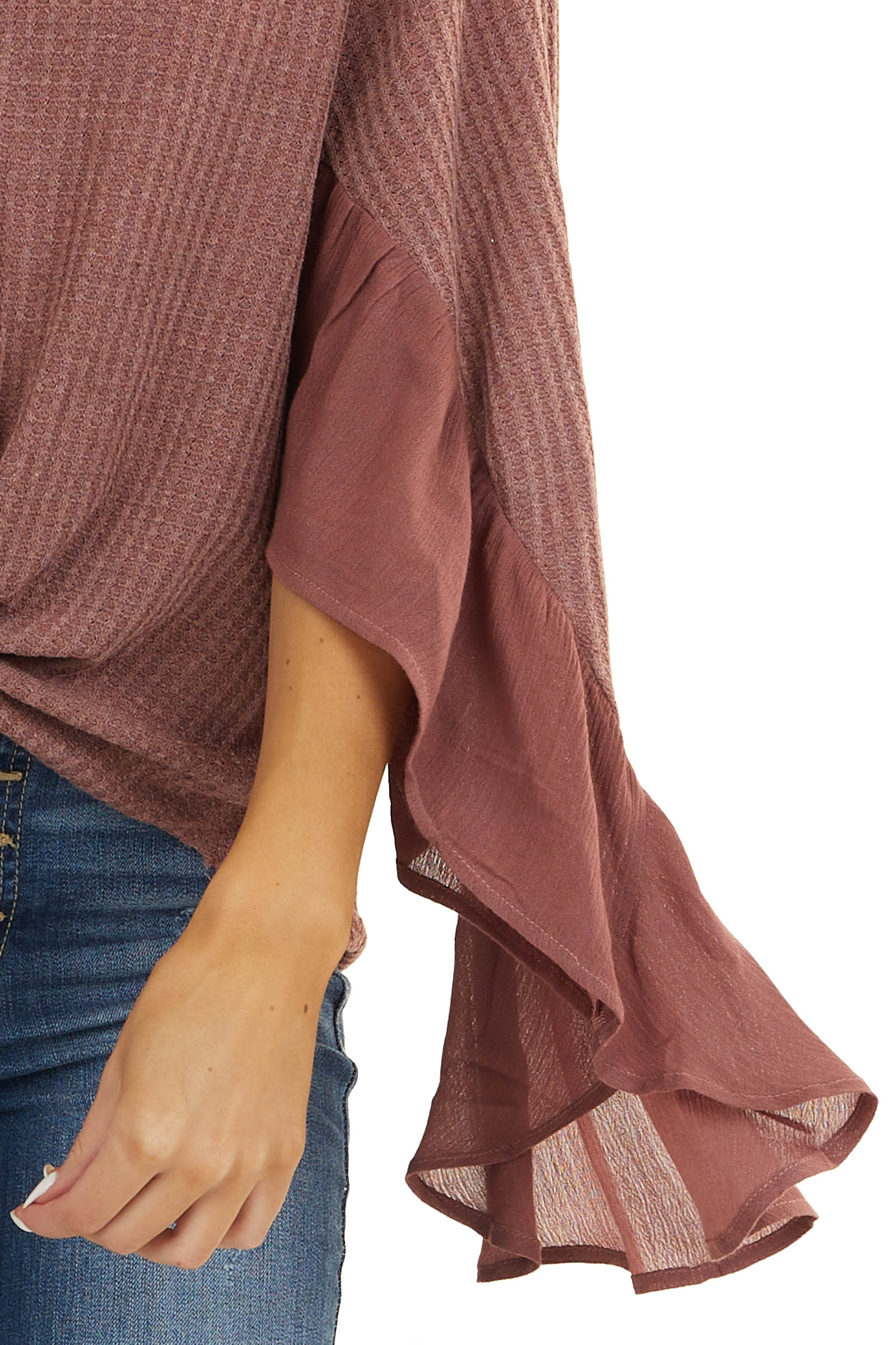 Mauve Waffle Knit Button Up Top with Trumpet Sleeves