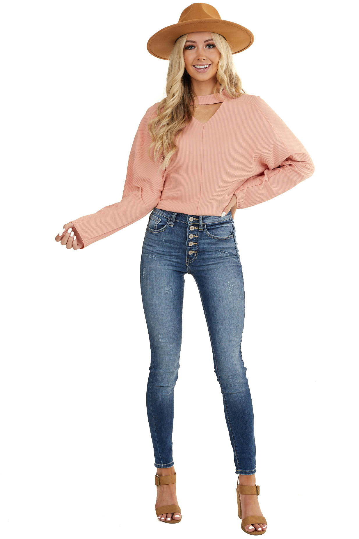 Dusty Blush Ribbed Choker Top with Long Dolman Sleeves