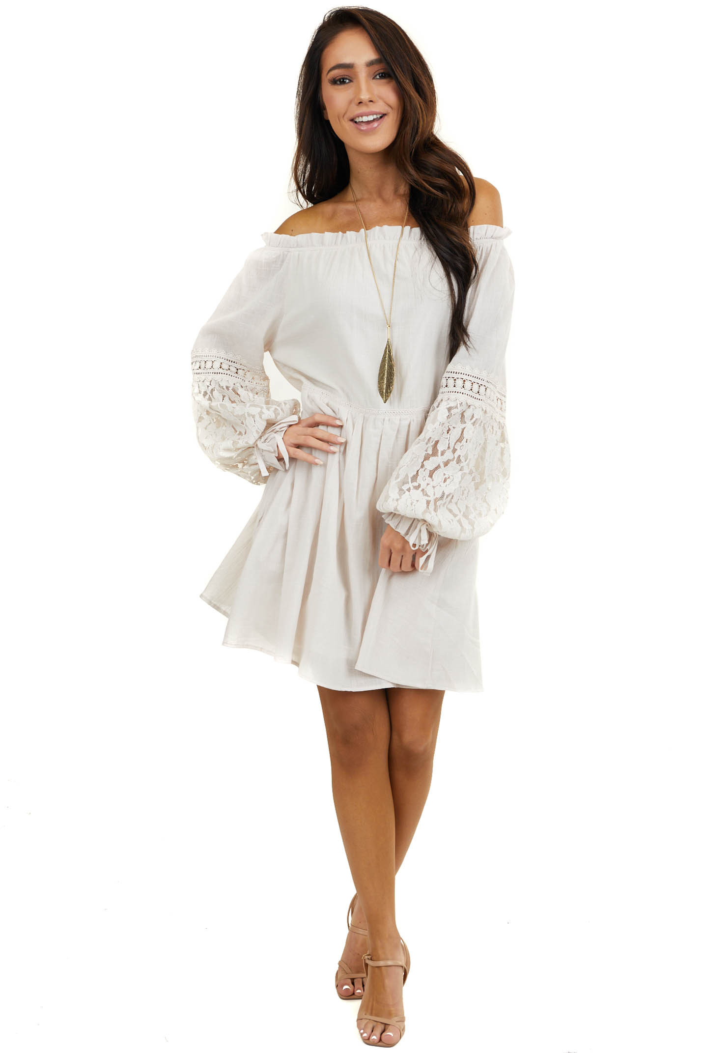 Ivory Off the Shoulder Short Dress with Lace Details