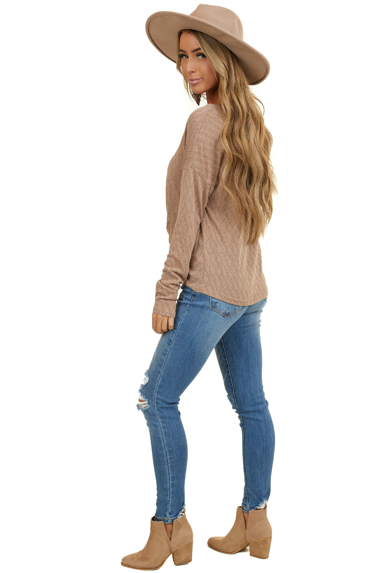 Mocha Two Tone V Neck Long Sleeve Top with Front Knot Detail