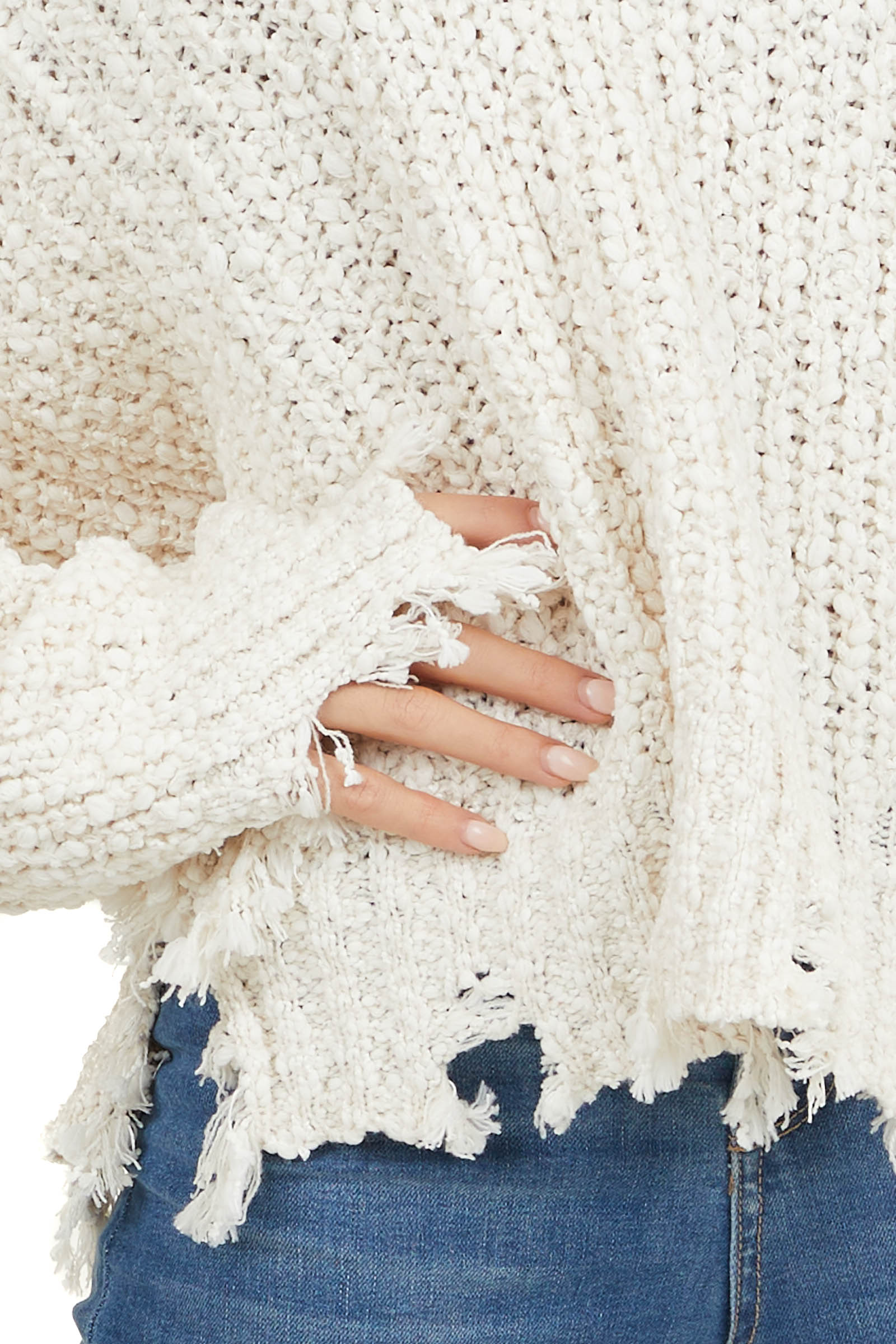 Cream Long Sleeve Popcorn Sweater with Distressed Hem