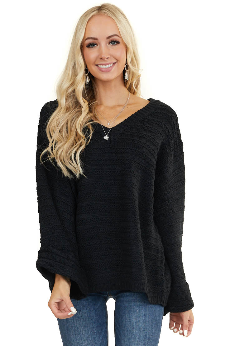 Black Oversized V Neck Sweater with Cuffed Bell Sleeves
