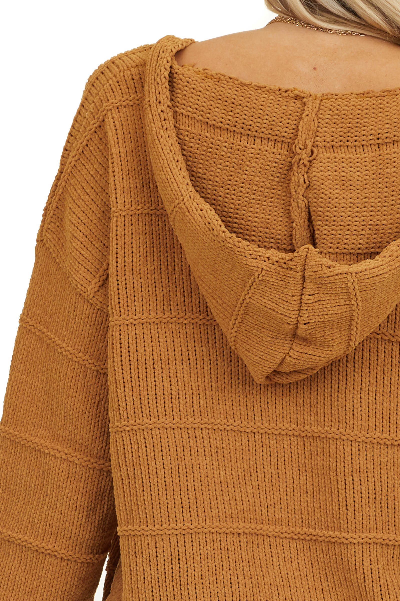 Camel Chenille Knit Sweater with Hood and Cable Knit Detail
