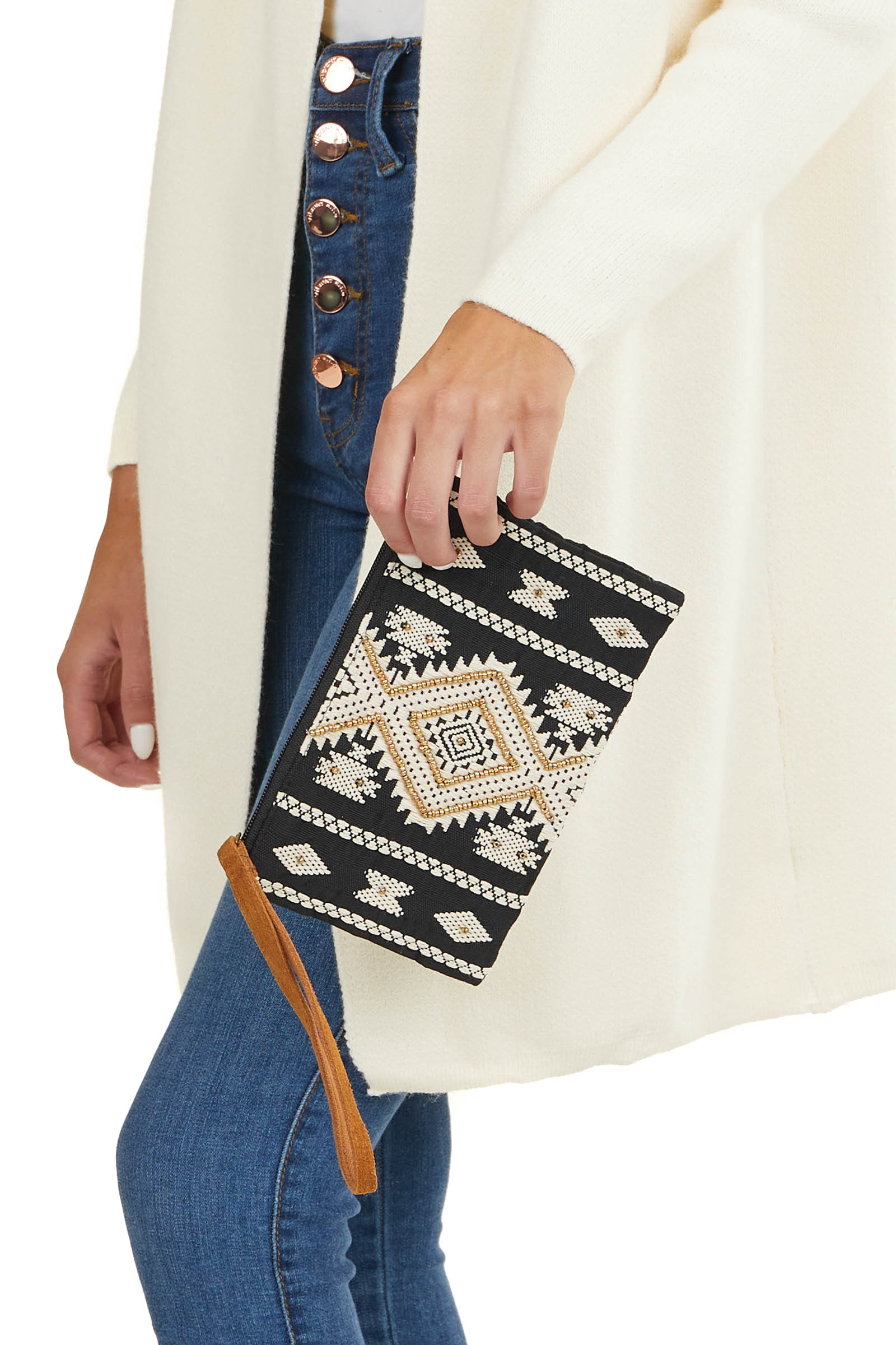 Black and Ivory Clutch with Embroidery and Beaded Details