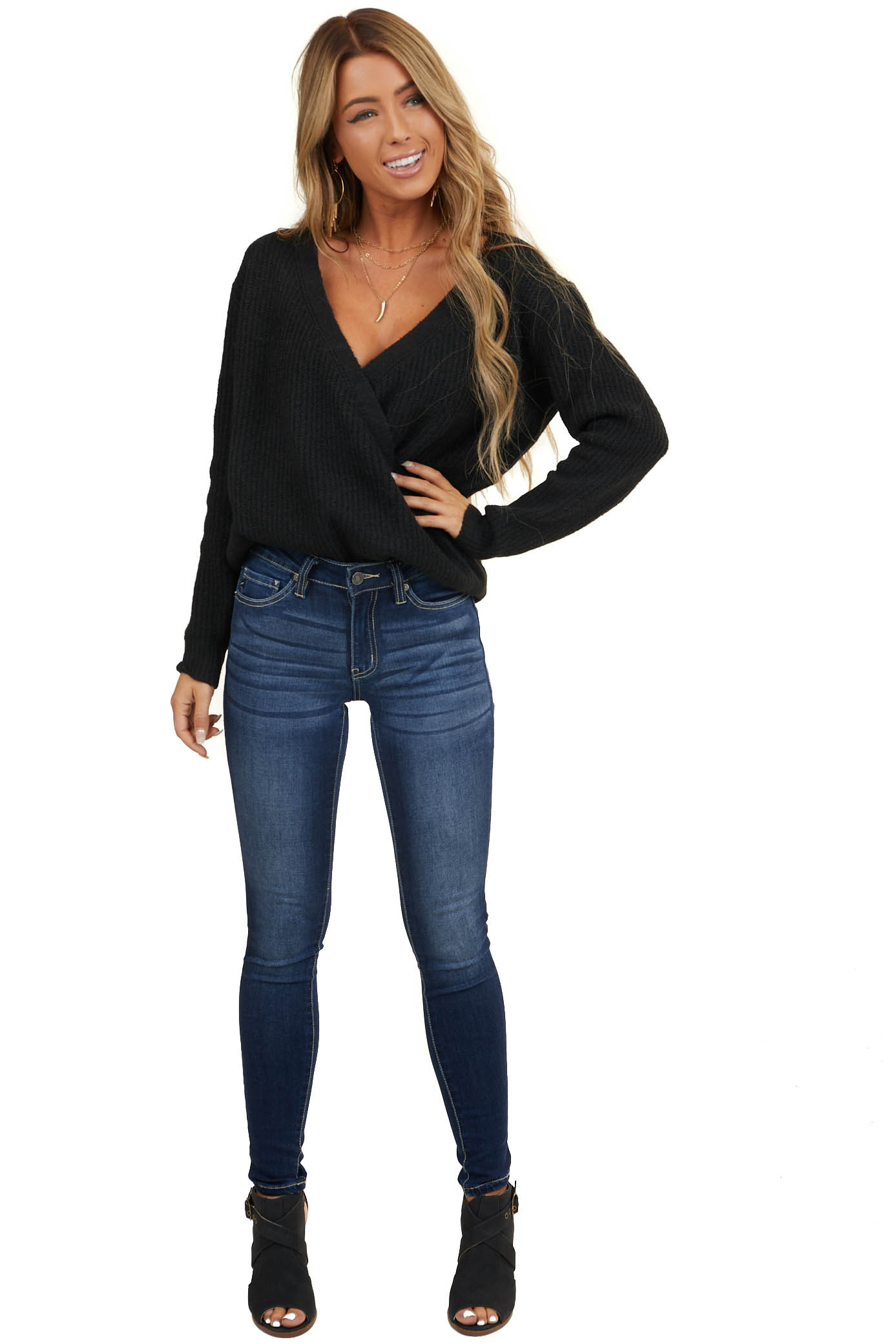 Black Surplice Cropped Sweater Top with Deep V Neckline