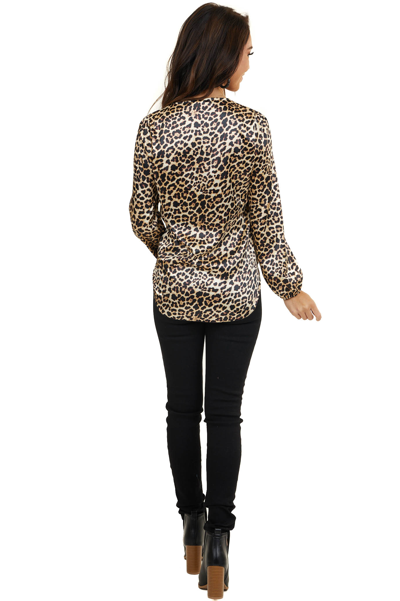 Cream and Black Leopard Print Silky Long Sleeve Surplice Top
