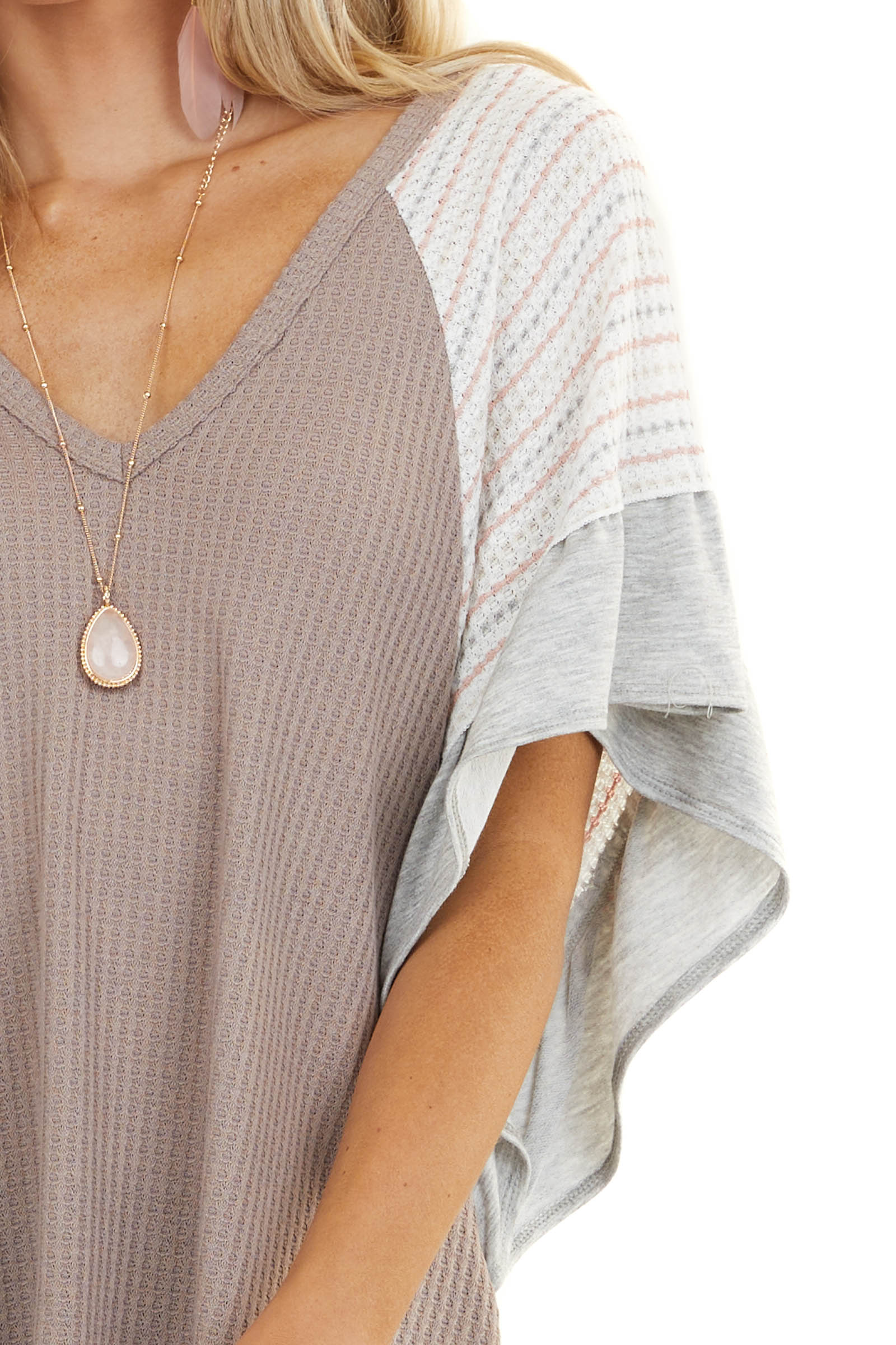 Dusty Amethyst Waffle Knit Top with Striped Batwing Sleeves