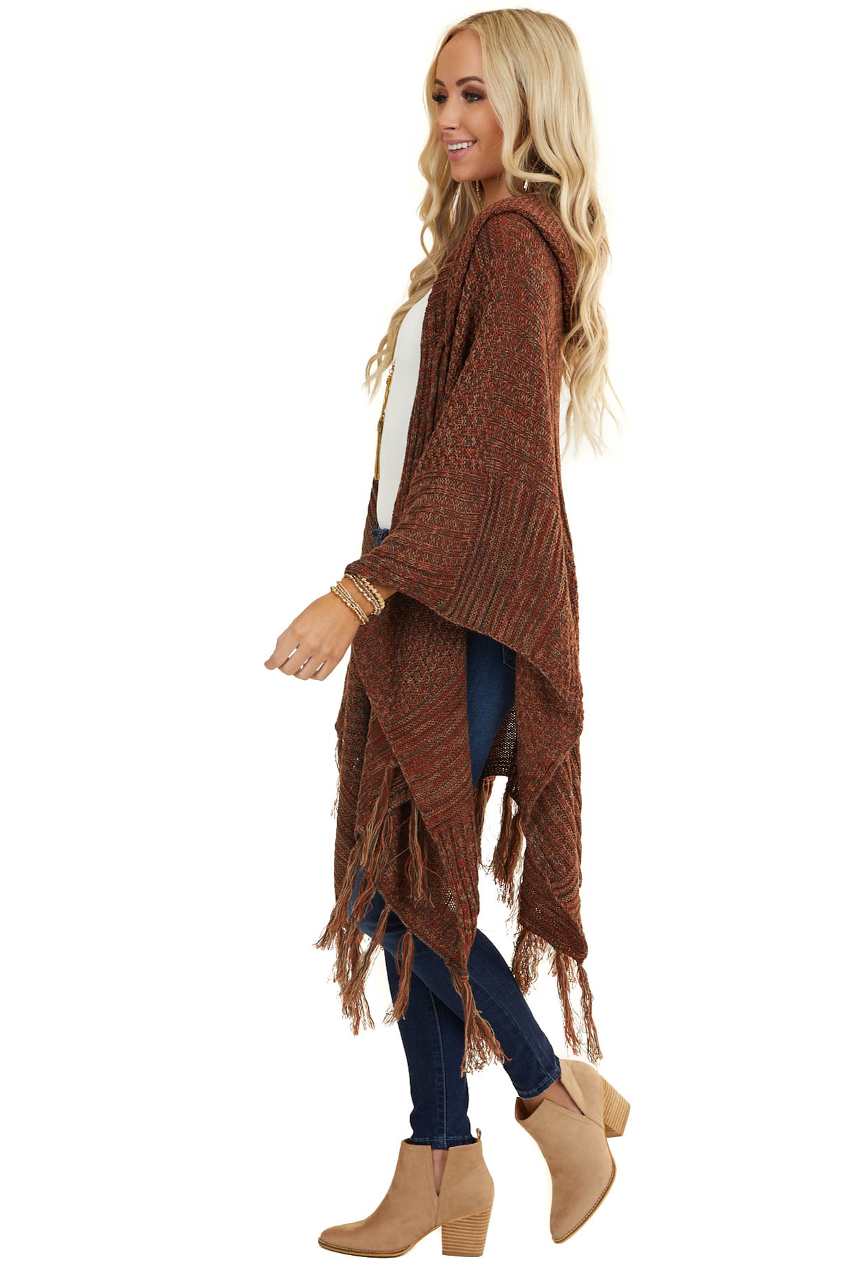 Burnt Orange Knit Hooded Shawl with Tassel Detail