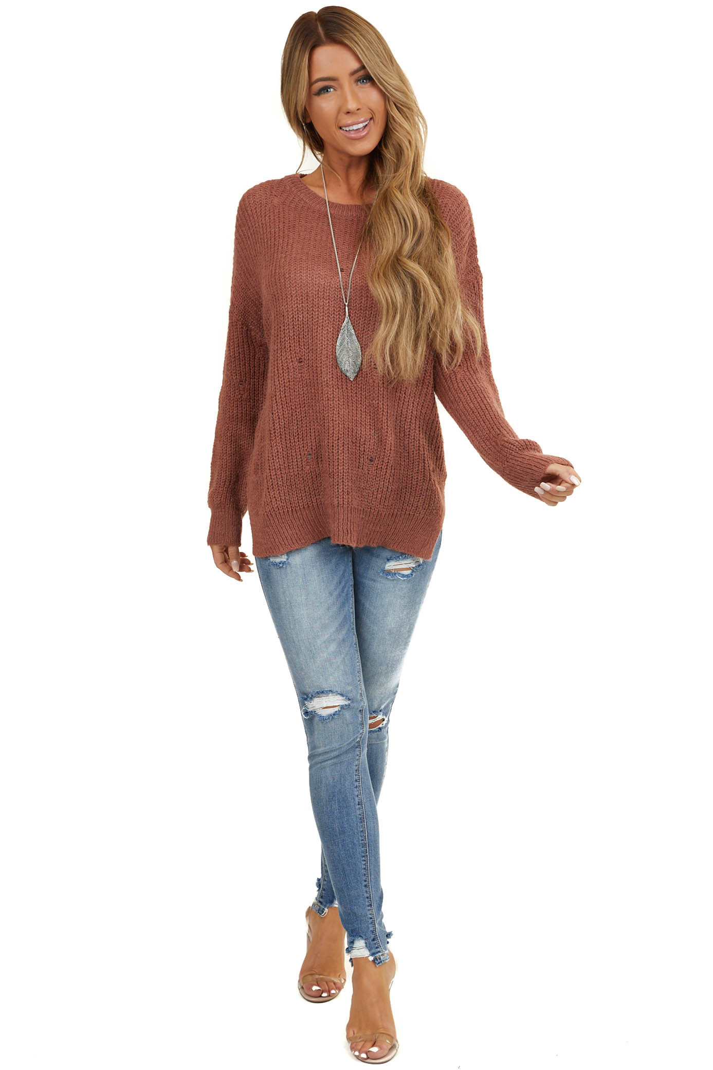 Dusty Coral Loose Knit Sweater with Distressed Details