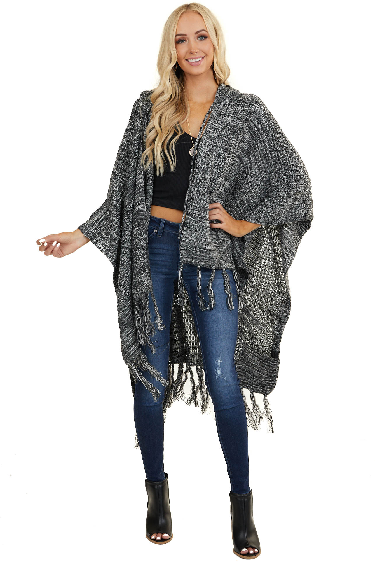 Charcoal and Ivory Knit Hooded Shawl with Tassel Detail