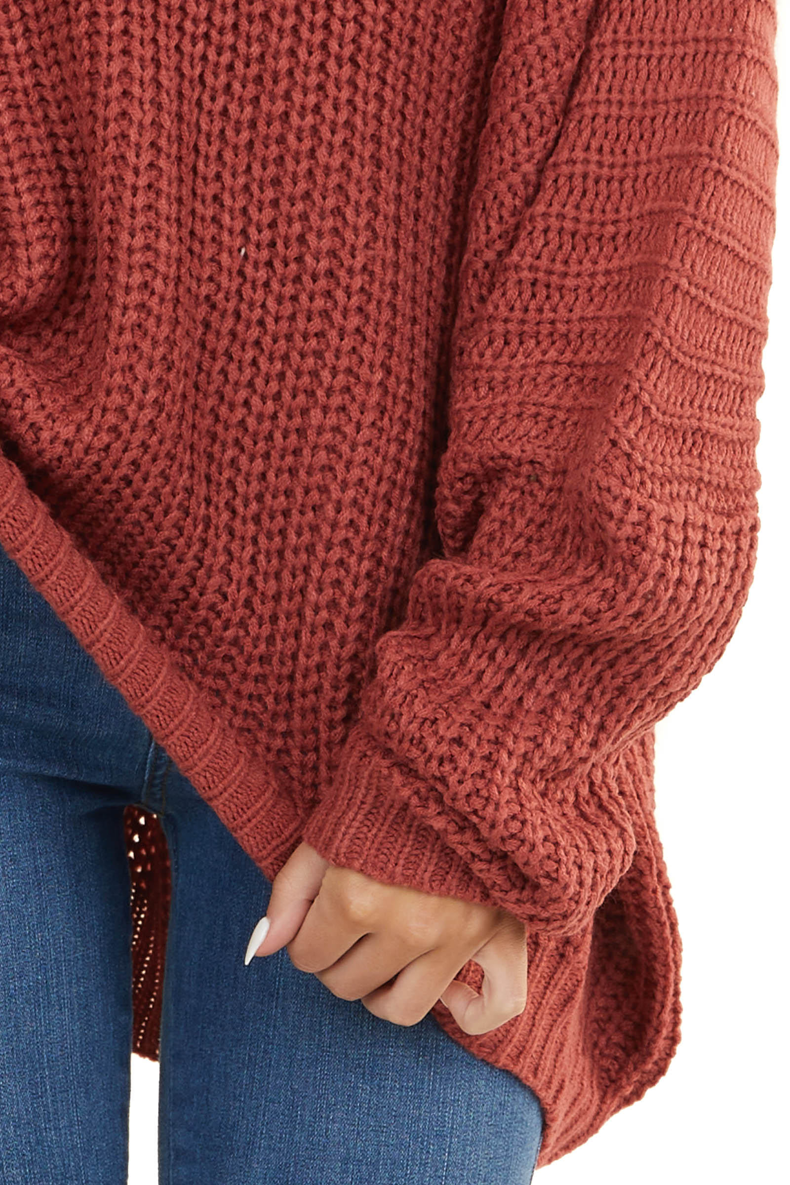 Faded Ruby Cable Knit V Neck Sweater with Dolman Sleeves
