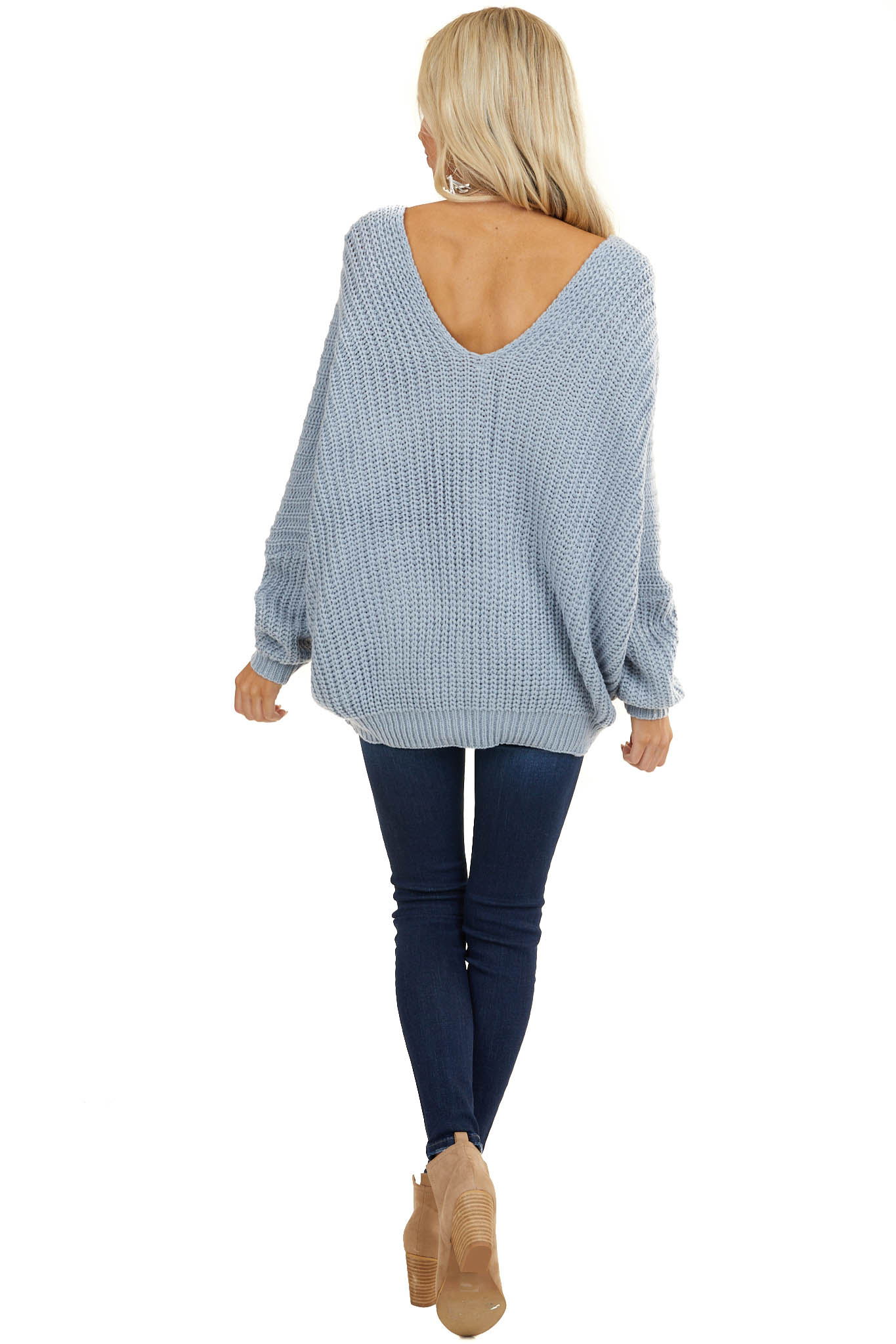 Baby Blue Cable Knit V Neck Sweater with Dolman Sleeves