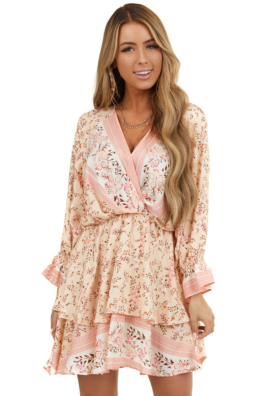 Peach Floral Print Mini Dress with Overlay Detail