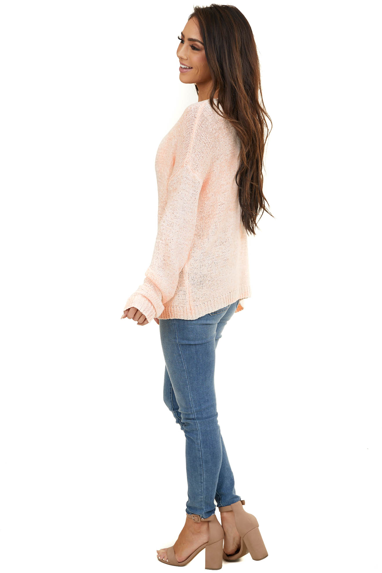 Bright Peach Loose Knit V Neck Sweater with Long Sleeves