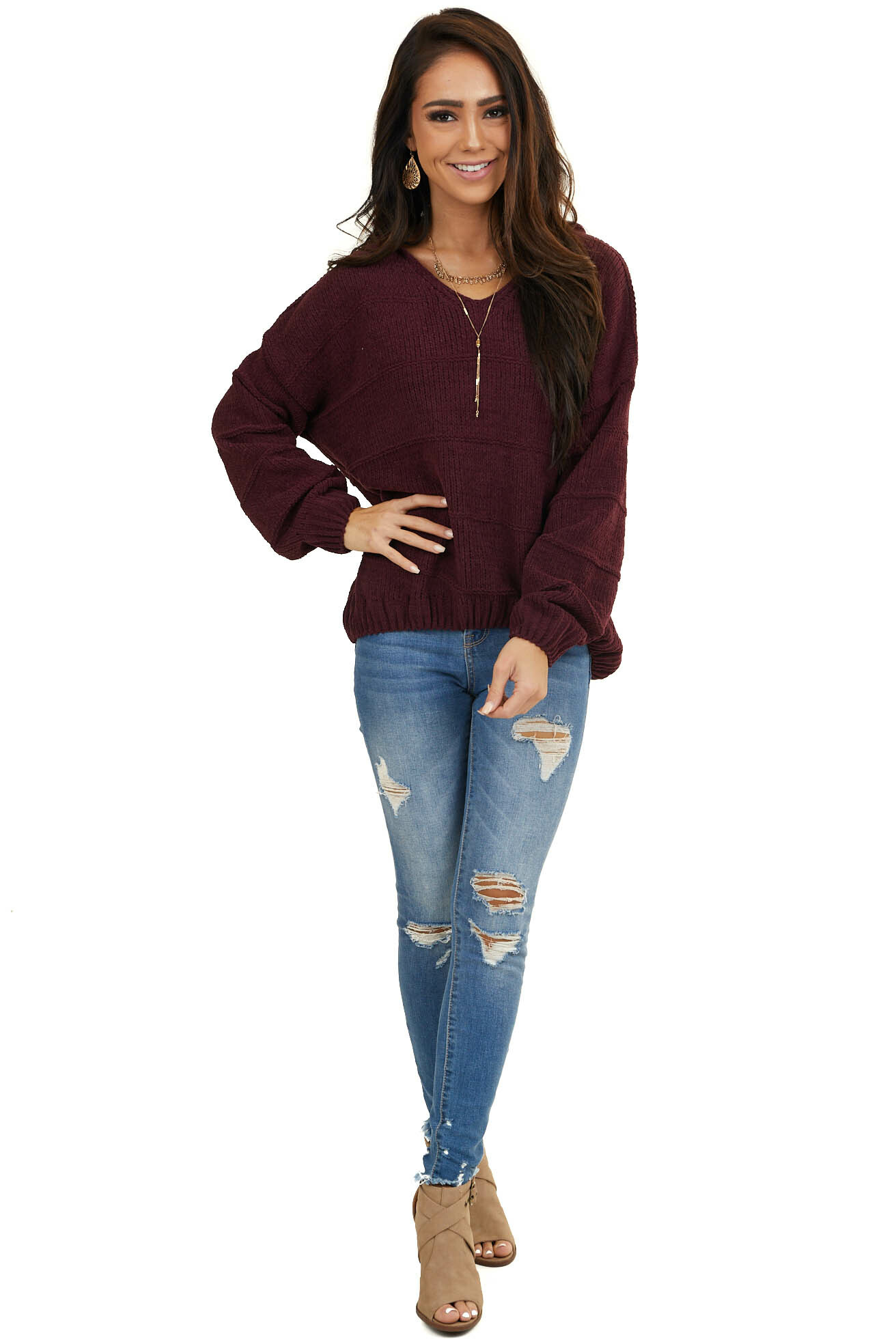 Mahogany Chenille Sweater with Hood and Cable Knit Detail