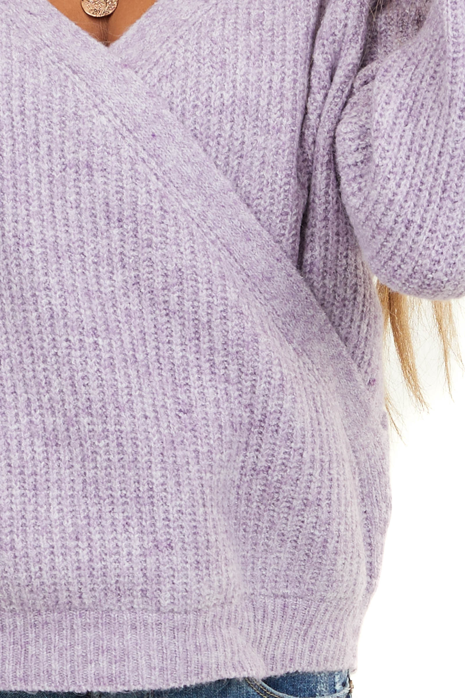 Lavender Surplice Cropped Sweater Top with Deep V Neckline