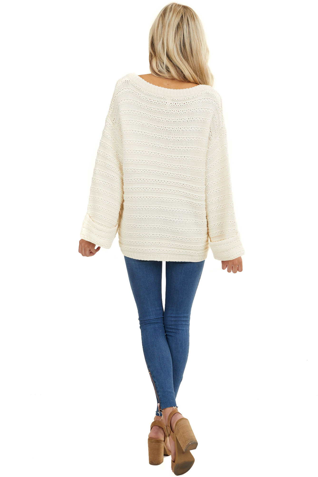 Cream Oversized V Neck Sweater with Cuffed Bell Sleeves