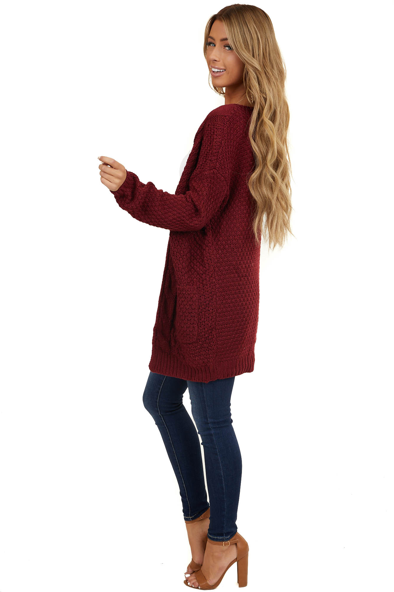 Burgundy Thick Cable Knit Open Cardigan with Pockets