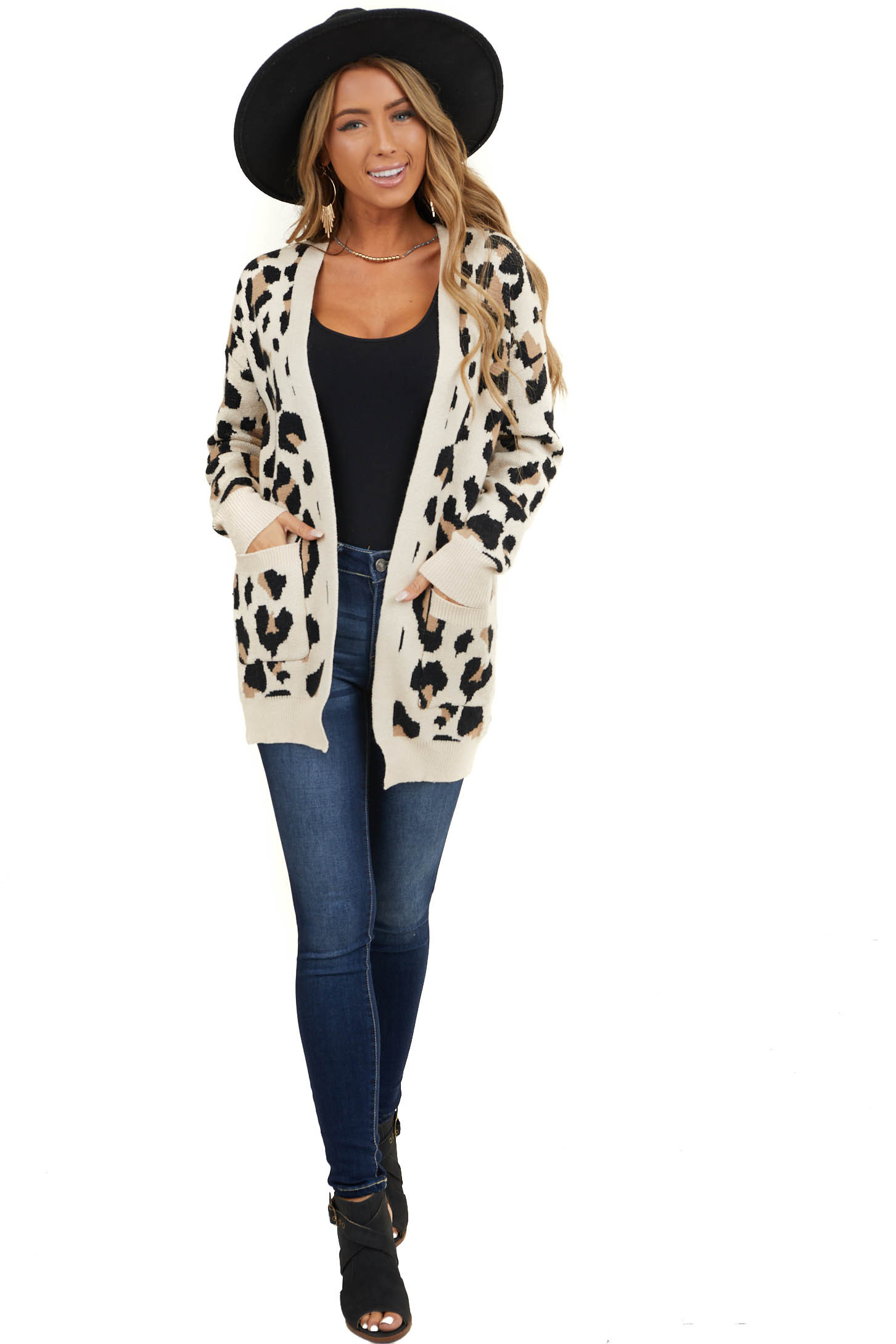 Oatmeal Leopard Print Super Soft Cardigan with Pockets