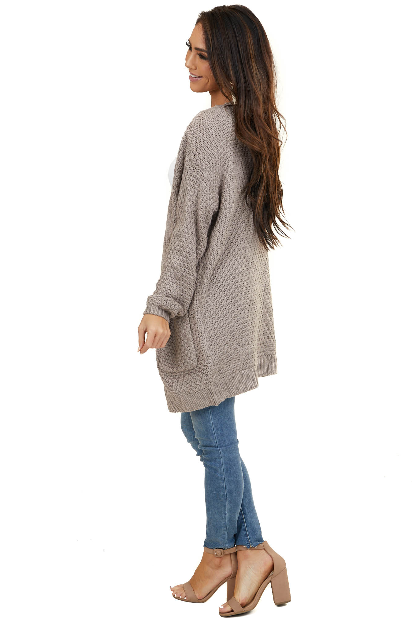 Pale Mocha Thick Cable Knit Open Cardigan with Pockets