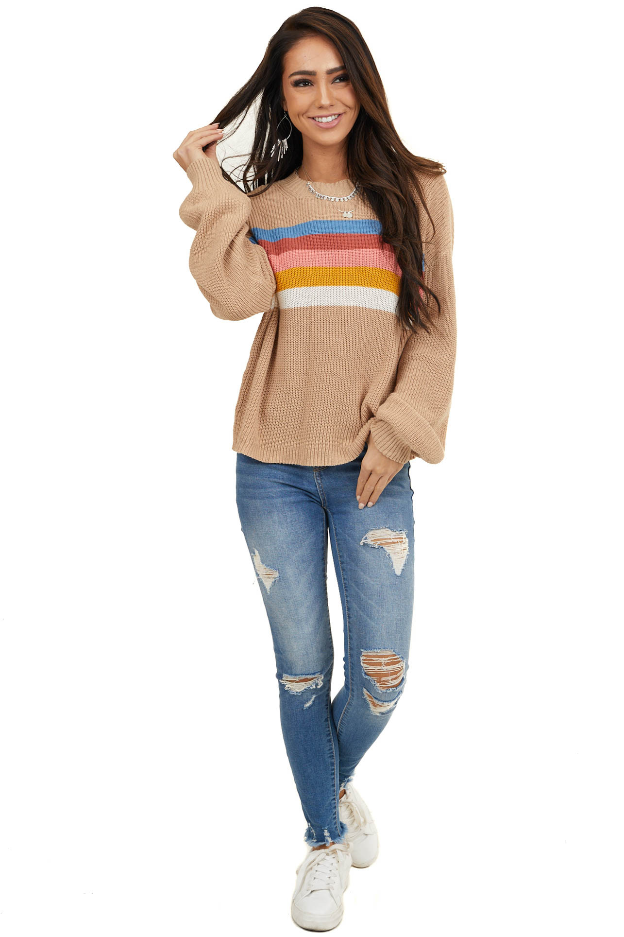 Latte Rainbow Striped Ribbed Sweater with Bubble Sleeves