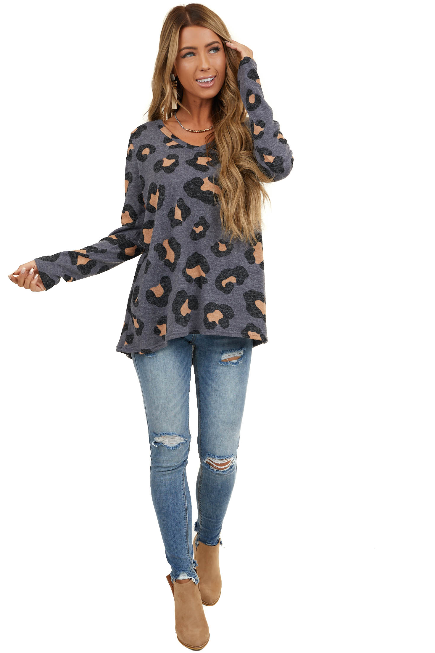 Charcoal Leopard Print Round Neck Long Sleeve Knit Top