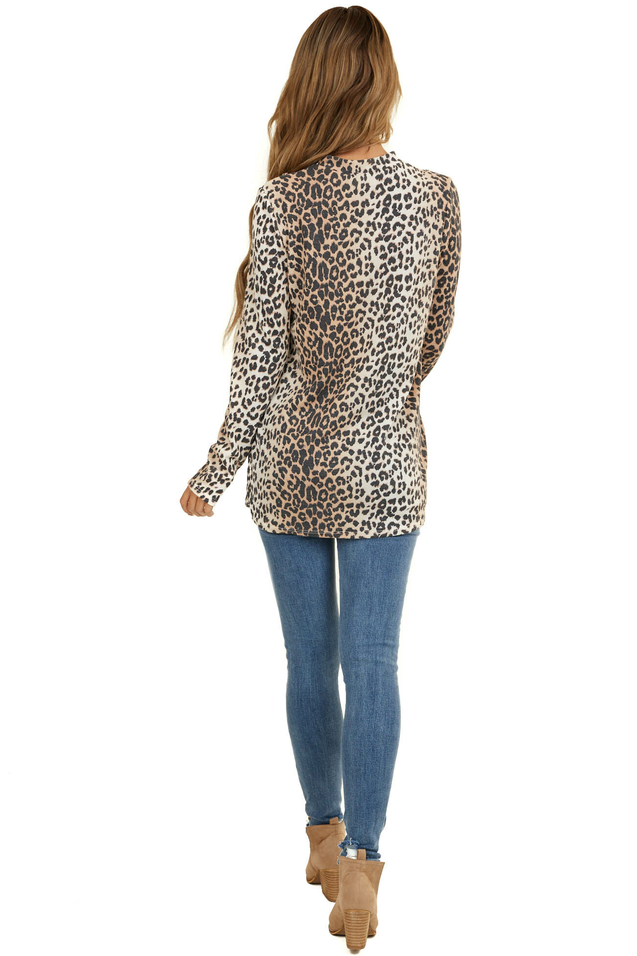 Latte Leopard Long Sleeve Waffle Knit Top with Cutout Detail