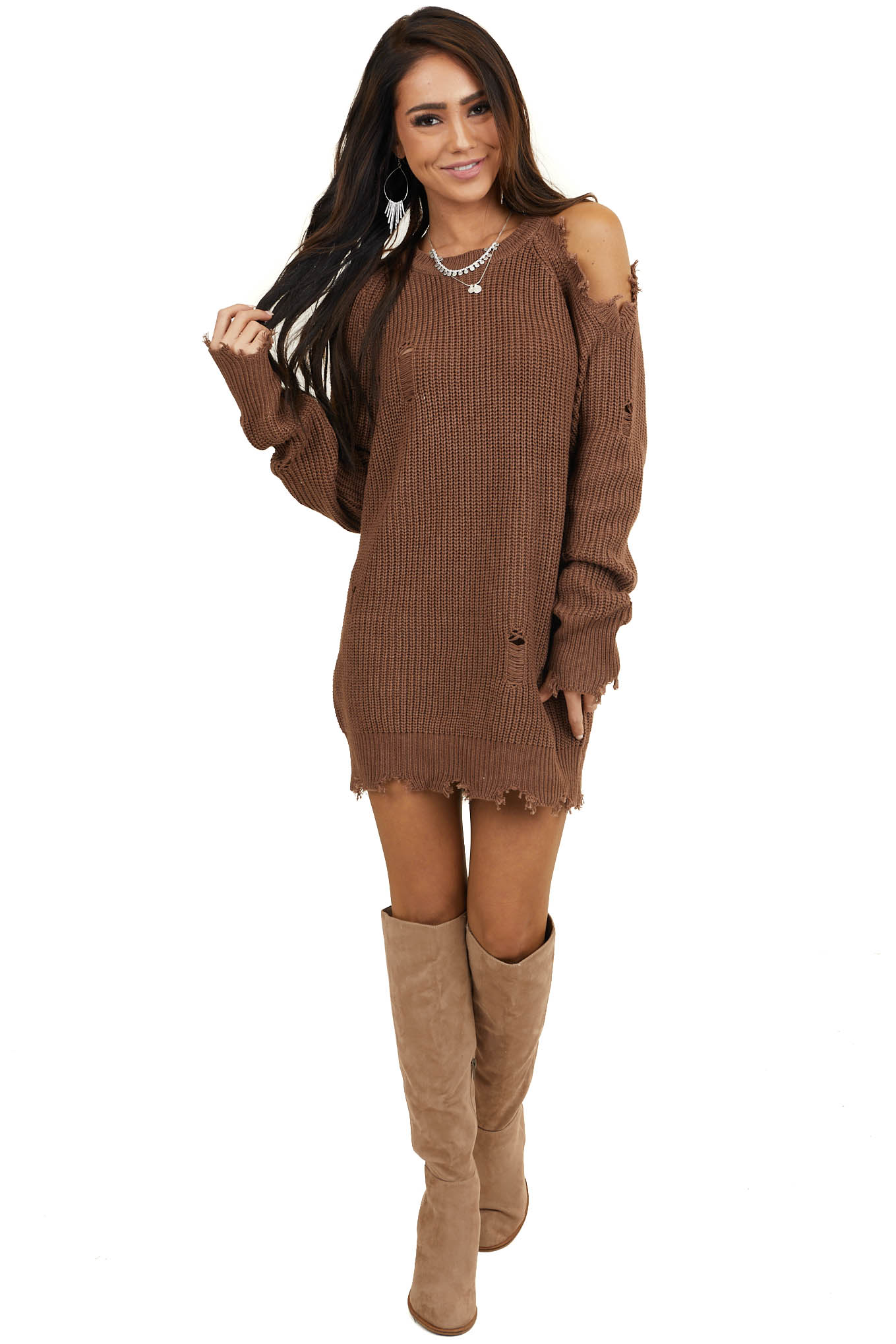 Cocoa Cold Shoulder Sweater Dress with Distressed Details