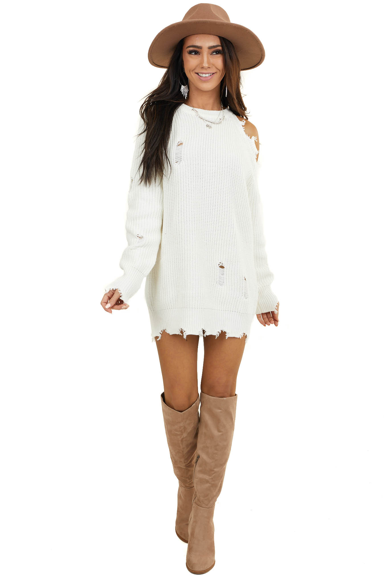 Ivory Cold Shoulder Sweater Dress with Distressed Details