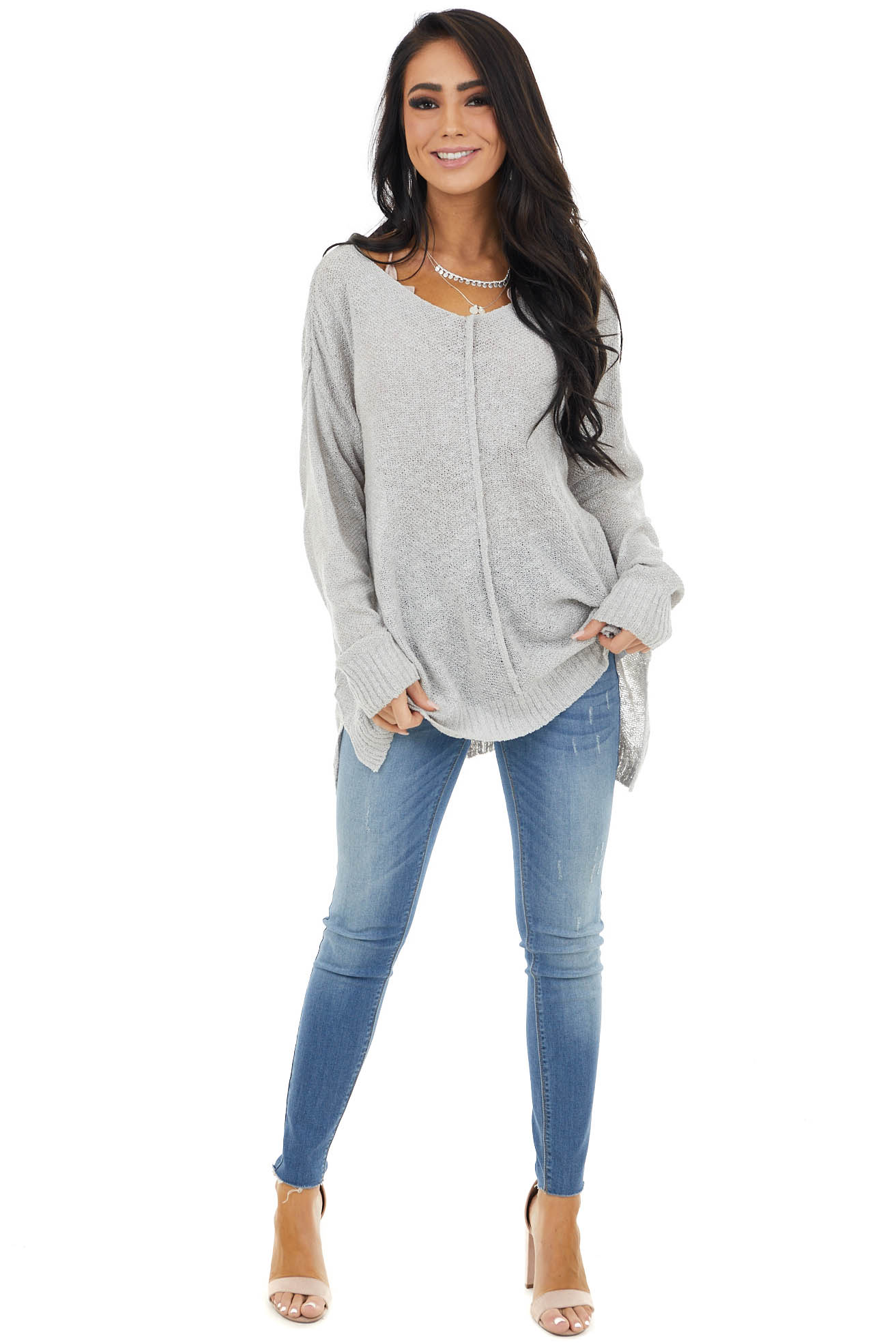 Dove Grey Light Sweater with Front and Back Seam Detail