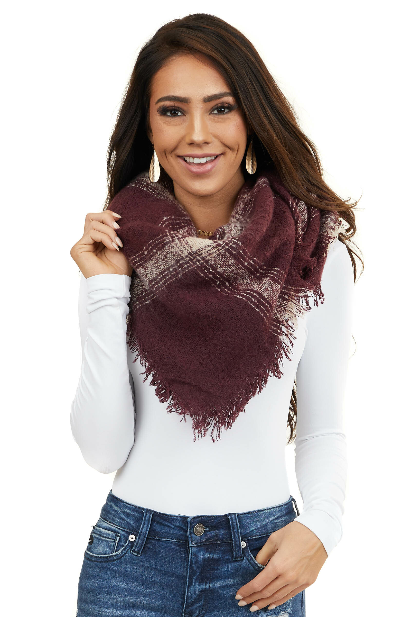 Maroon and White Plaid Print Blanket Scarf with Fringe